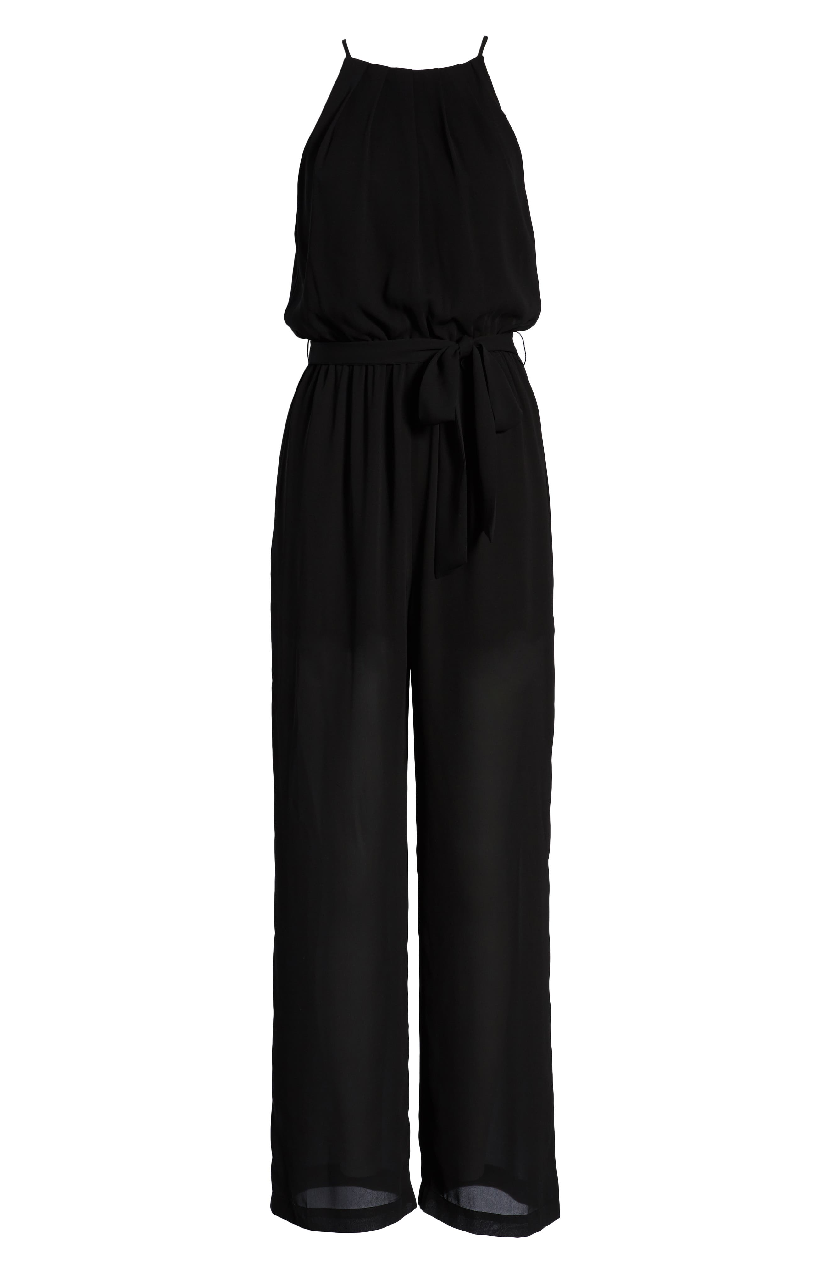 ALL IN FAVOR, Blouson Chiffon Jumpsuit, Alternate thumbnail 7, color, BLACK