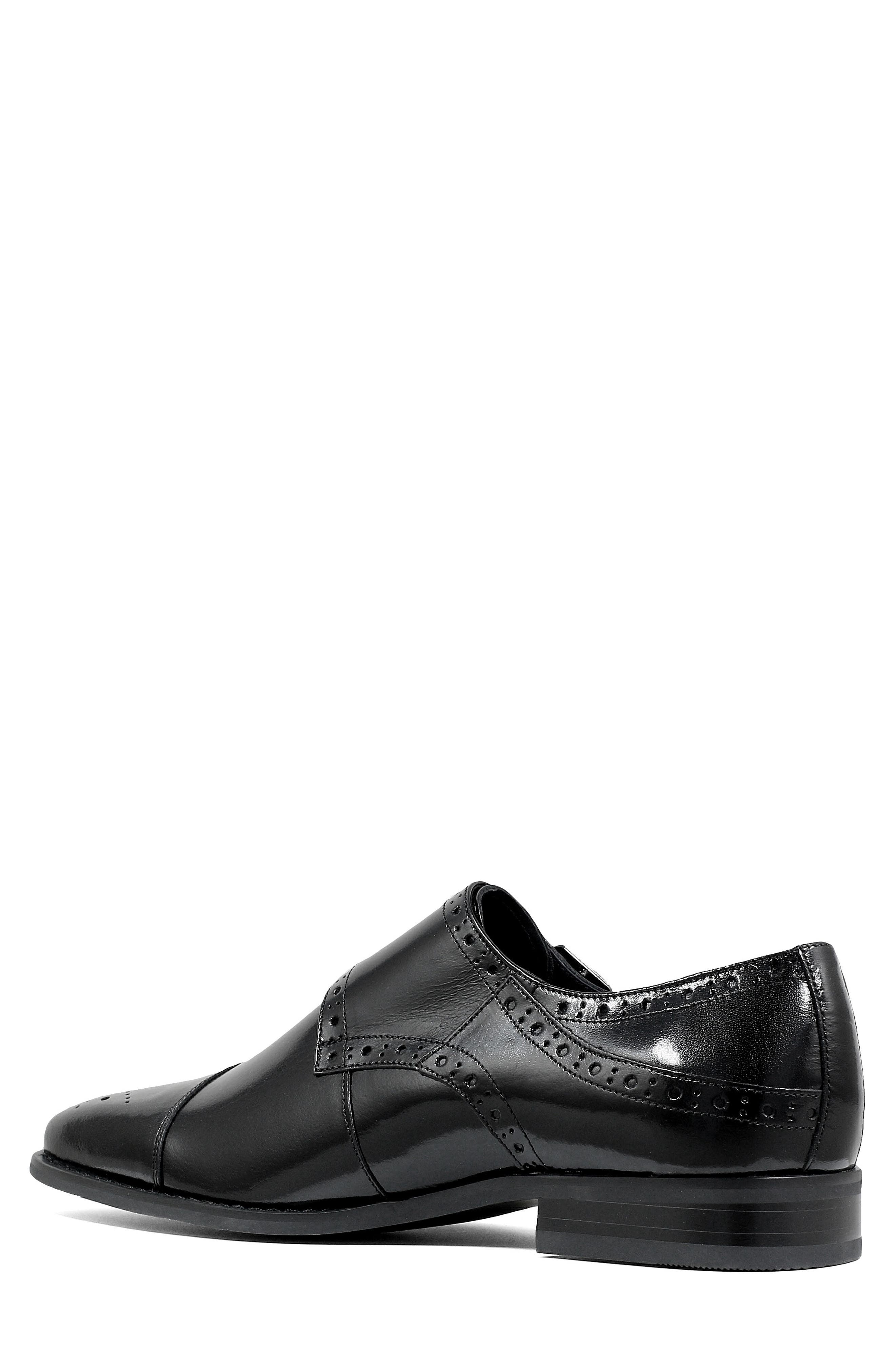 STACY ADAMS, Tayton Cap Toe Double Strap Monk Shoe, Alternate thumbnail 2, color, BLACK LEATHER