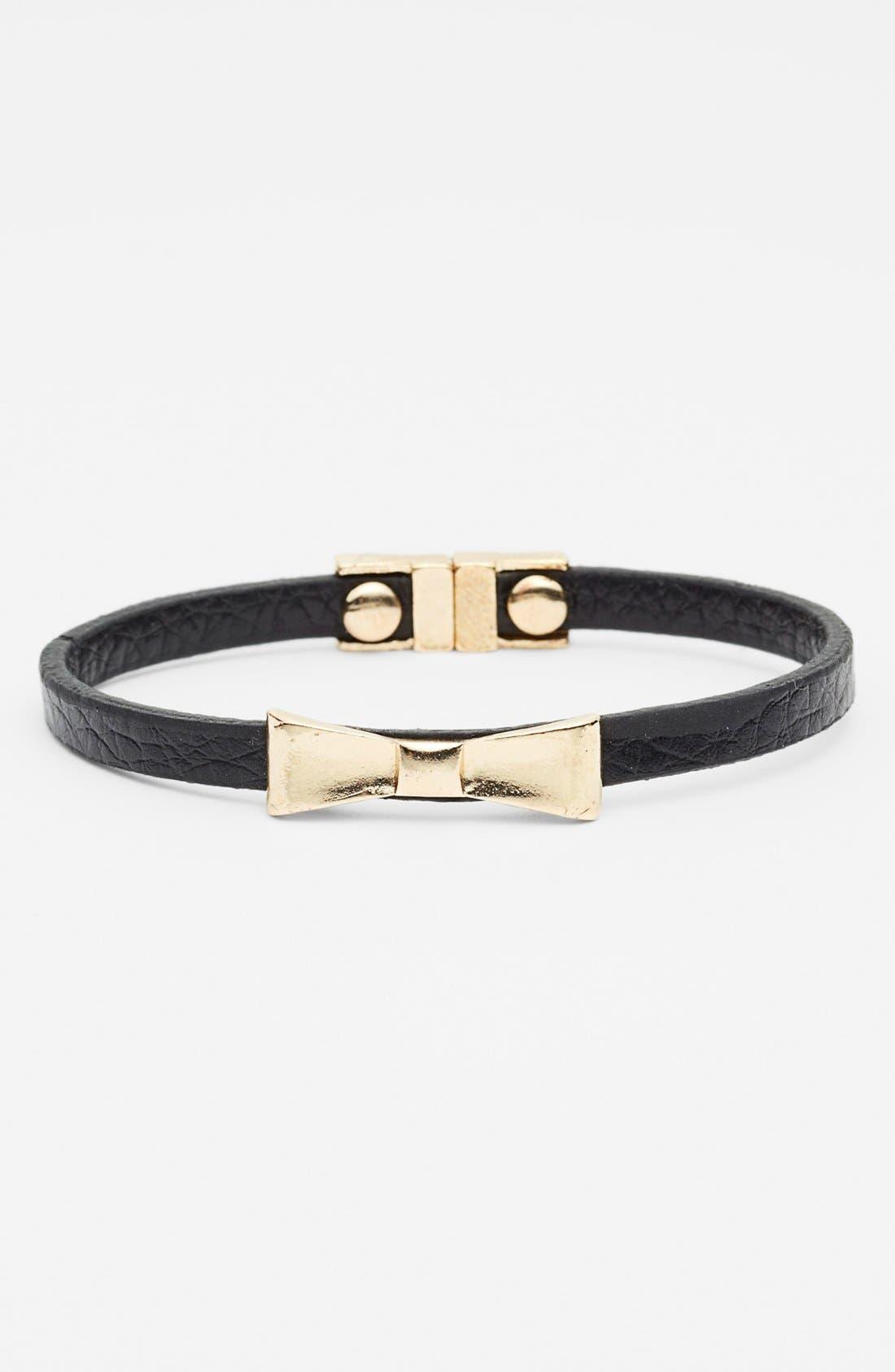 CAROLE, Bow Faux Leather Bracelet, Main thumbnail 1, color, 005
