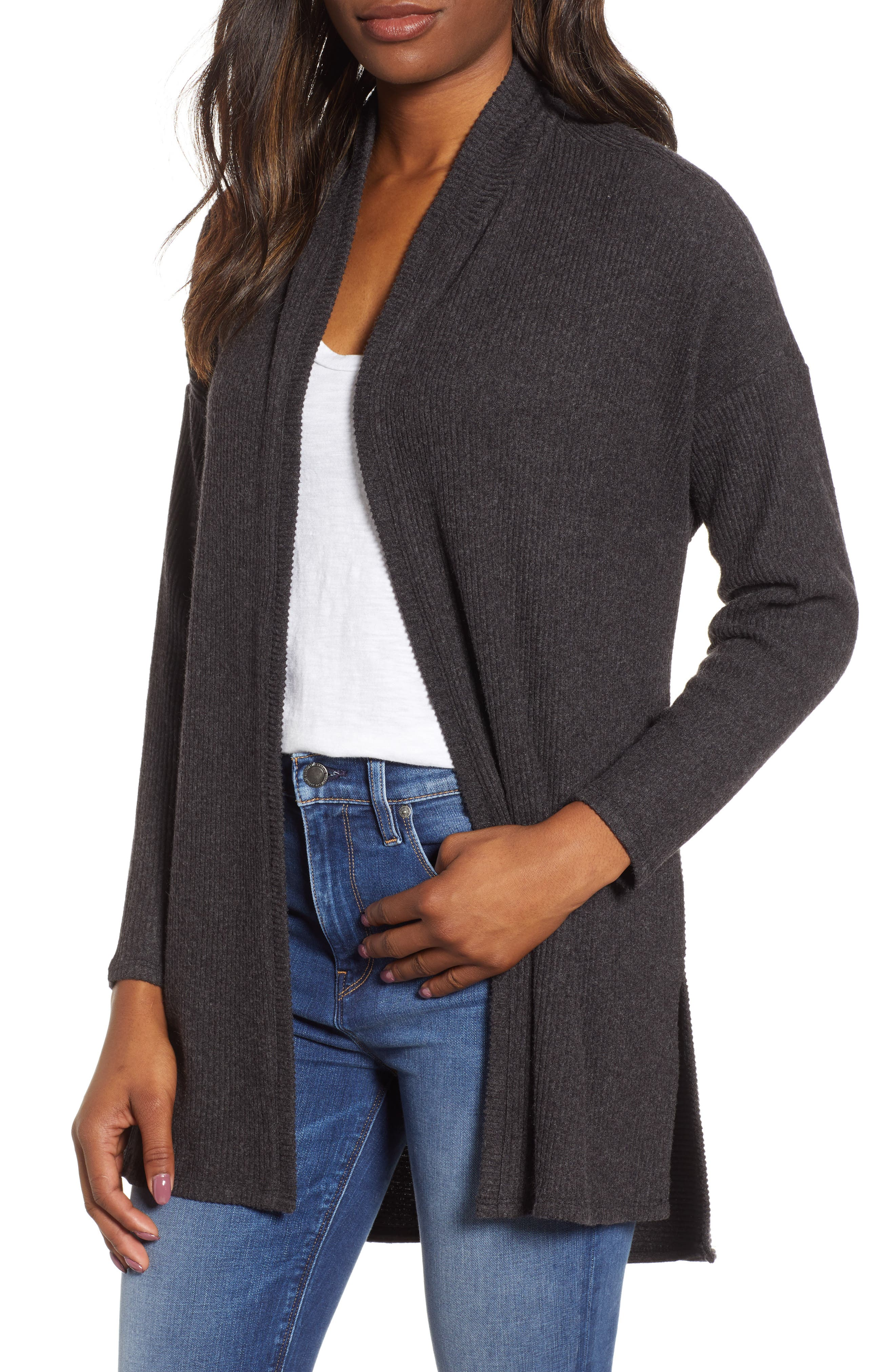WIT & WISDOM, Ribbed Open Cardigan, Main thumbnail 1, color, CHARCOAL