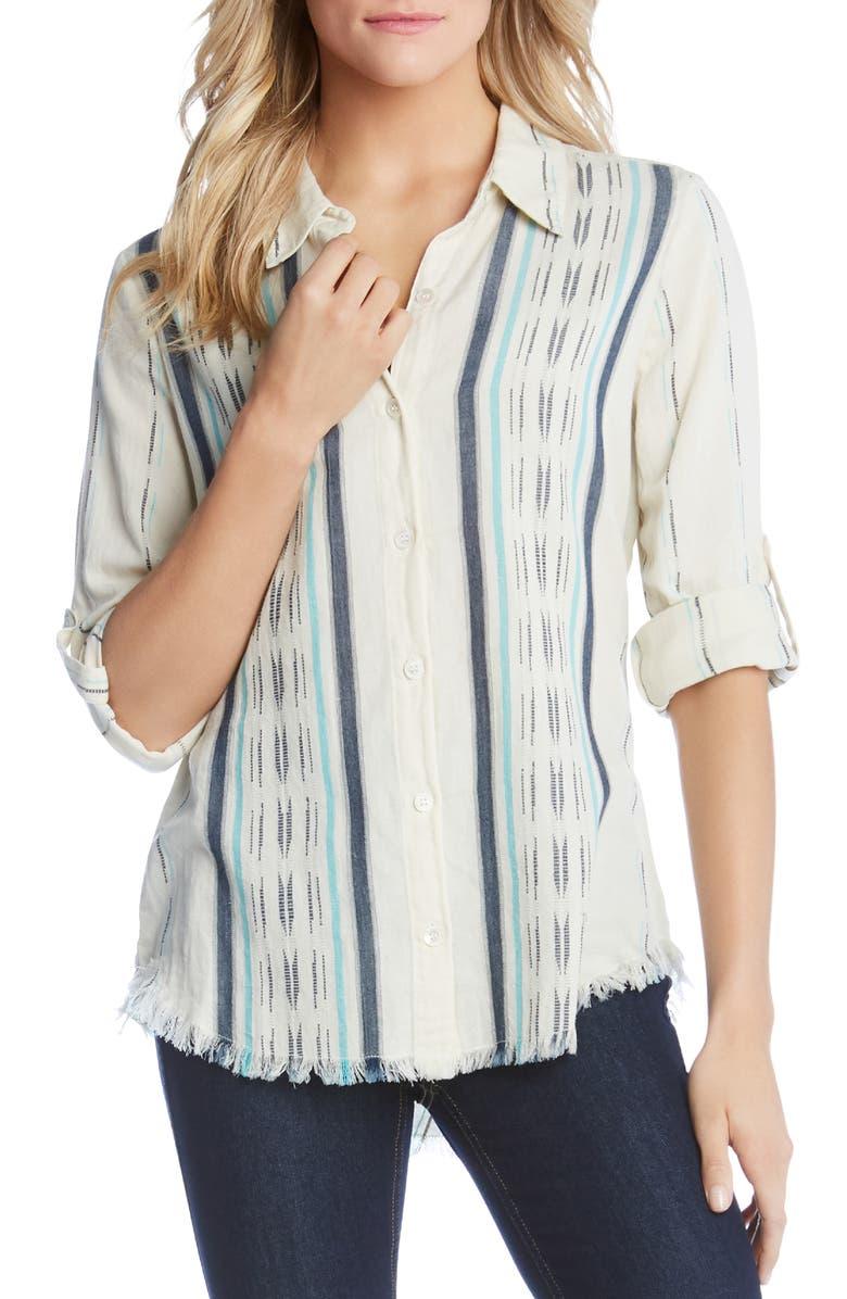 Karen Kane T-shirts FRINGE HEM SHIRT