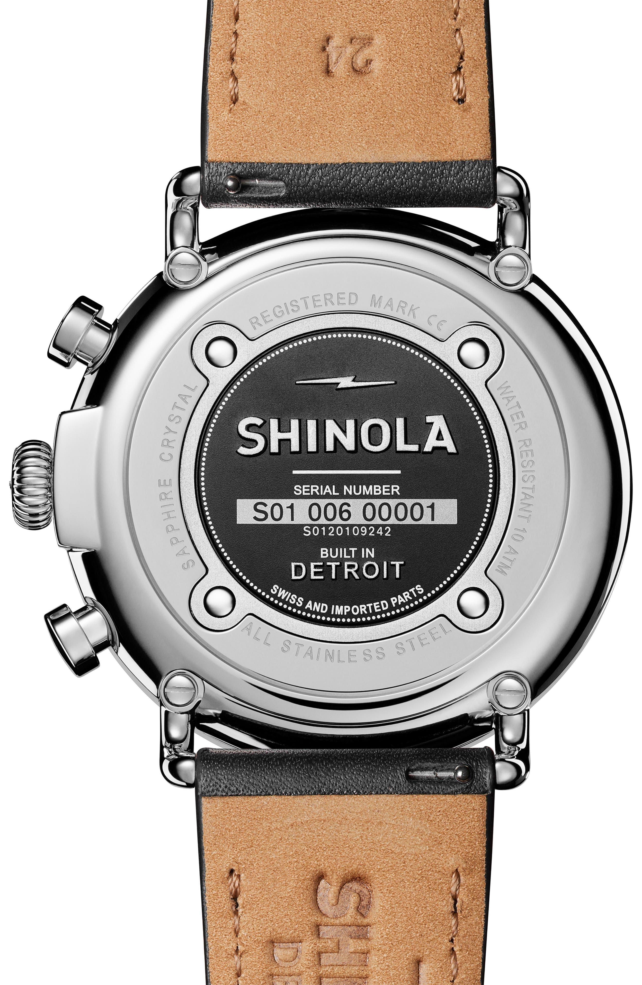 SHINOLA, The Runwell Chrono Leather Strap Watch, 47mm, Alternate thumbnail 3, color, 002