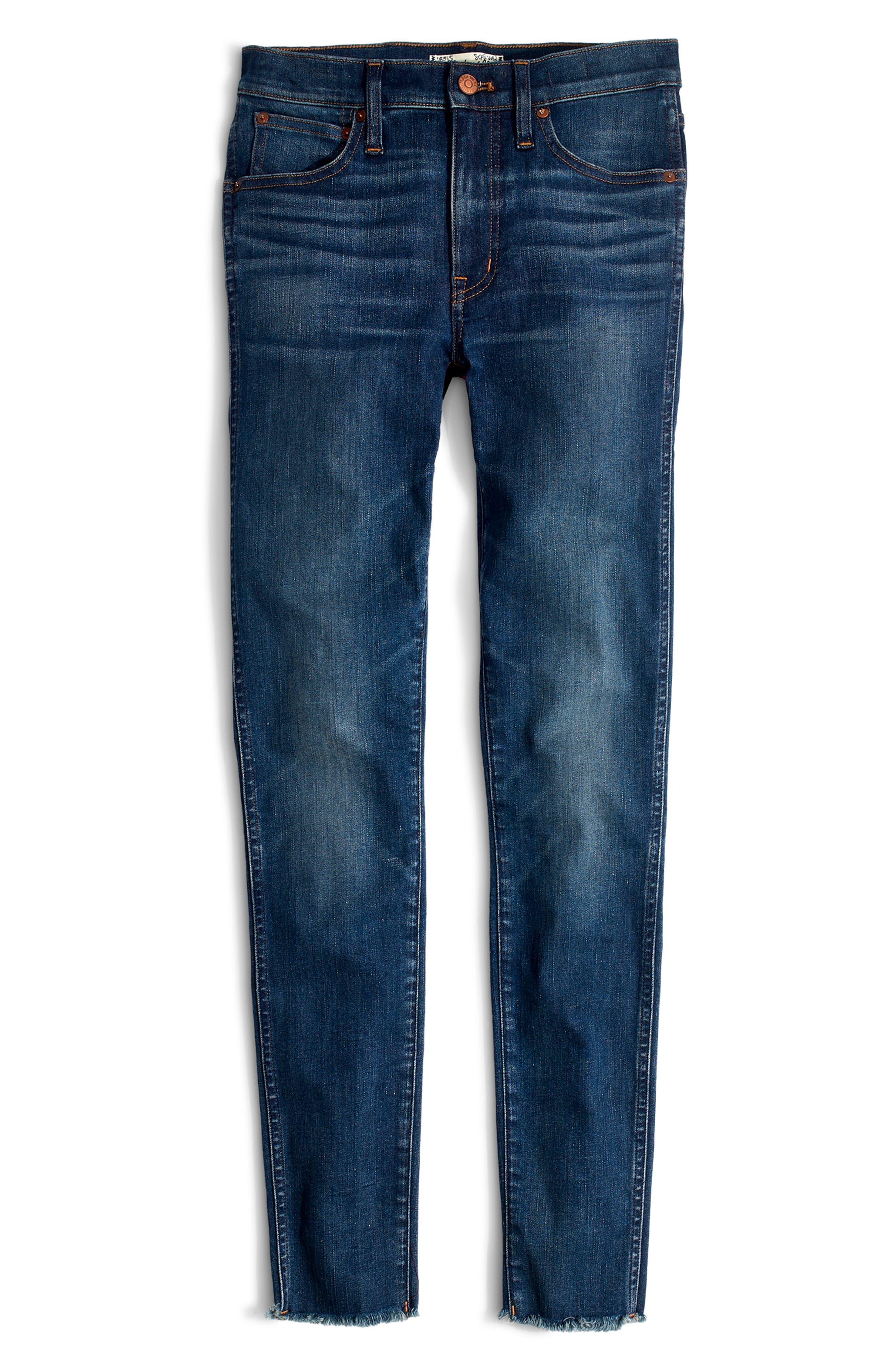 MADEWELL, 9-Inch Skinny Jeans Raw Hem Edition, Alternate thumbnail 7, color, PALOMA