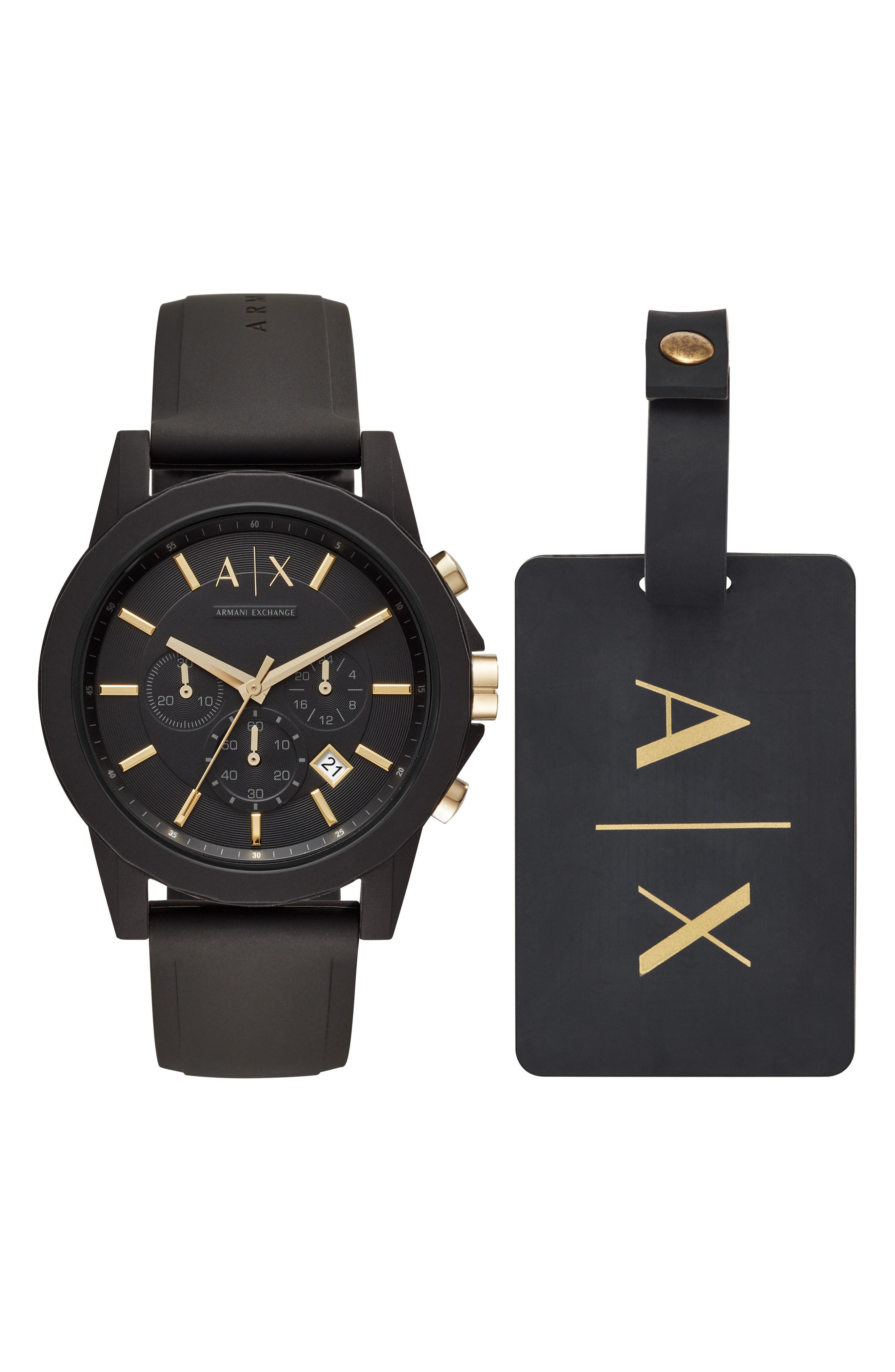 AX ARMANI EXCHANGE, Boxed Chronograph Silicone Strap Watch Gift Set, 45mm, Main thumbnail 1, color, 001