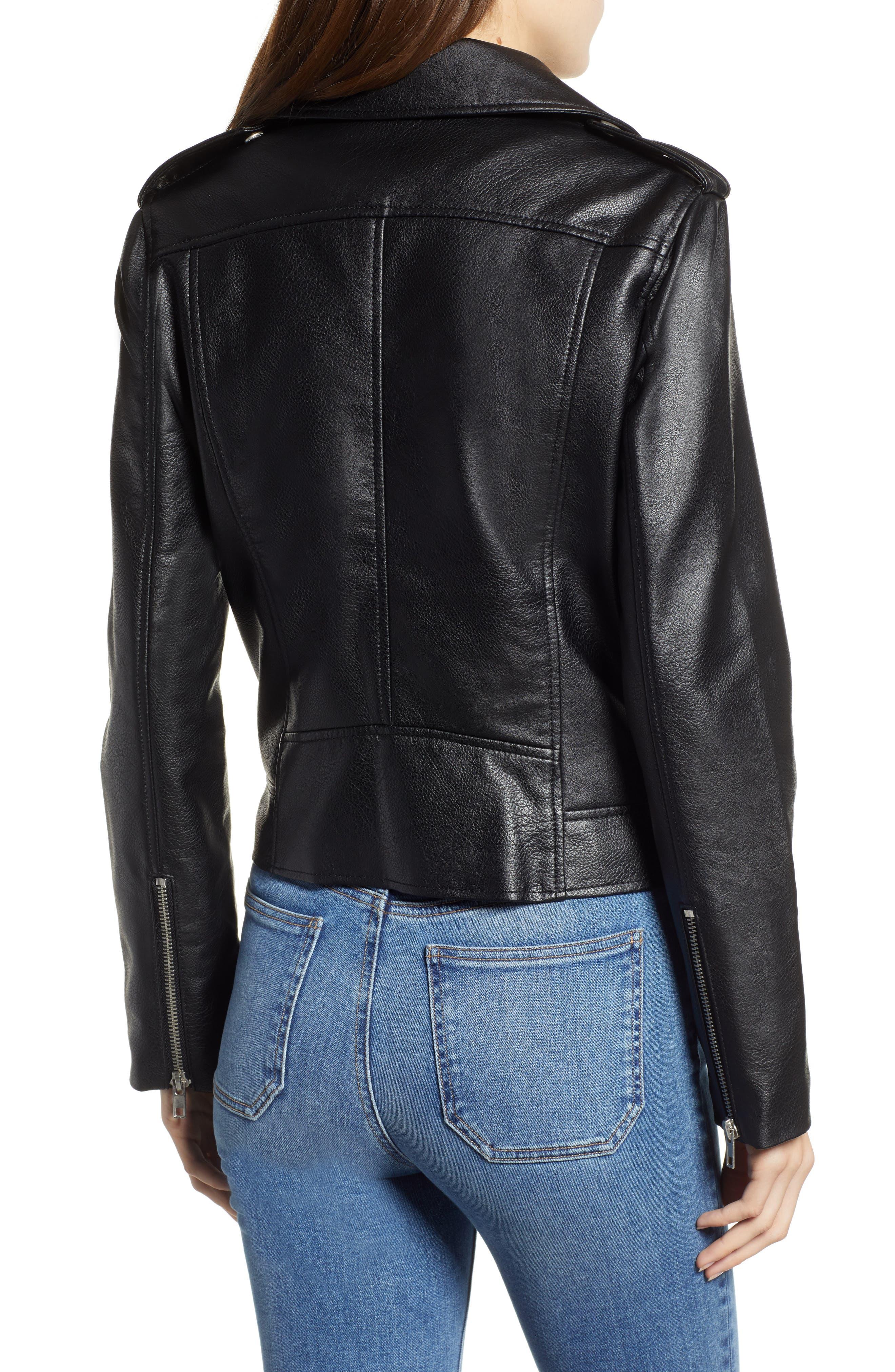 BB DAKOTA, Just Ride Faux Leather Jacket, Alternate thumbnail 2, color, BLACK