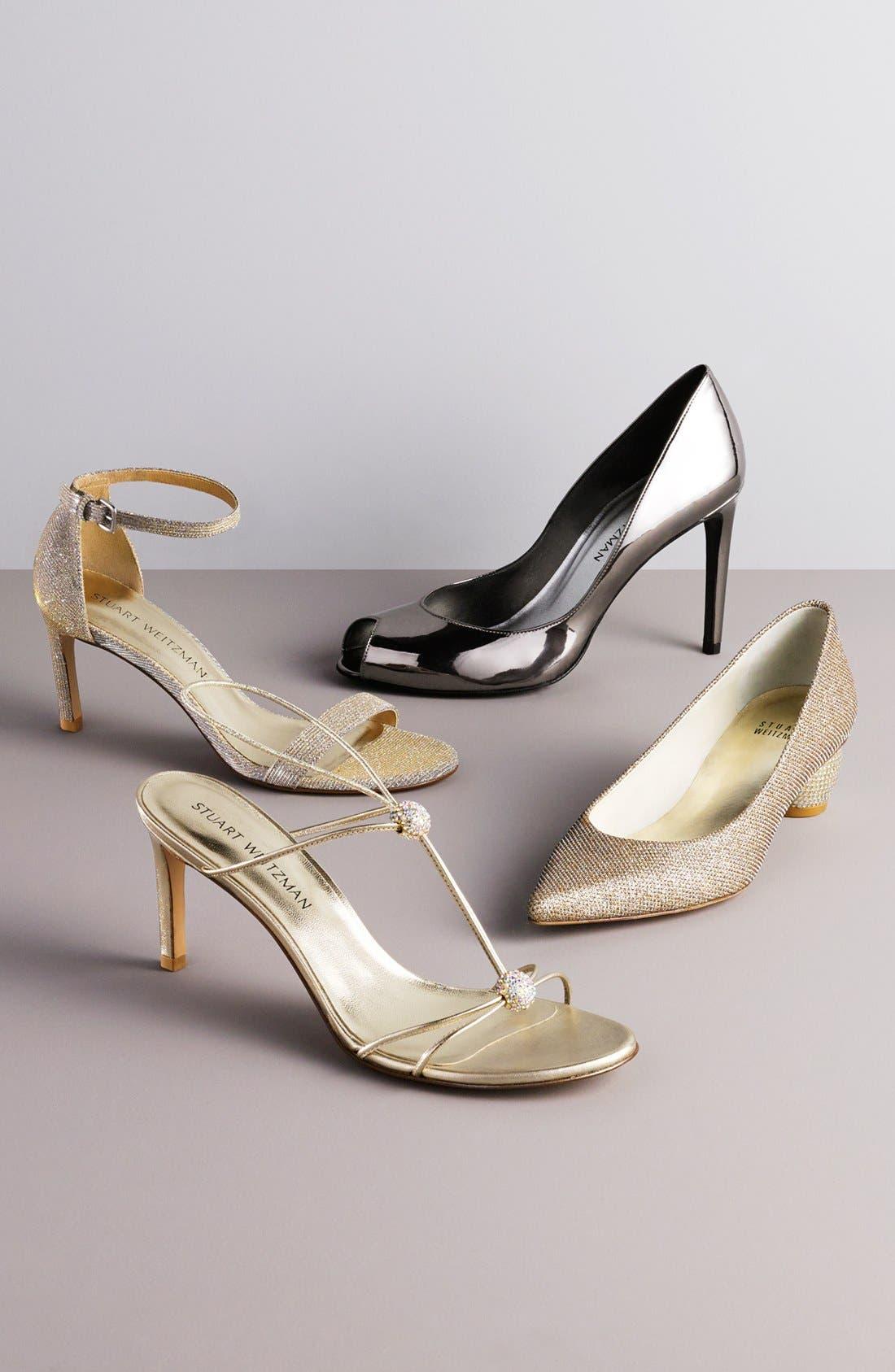 STUART WEITZMAN, 'Nunaked' Leather Ankle Strap Sandal, Main thumbnail 1, color, 001