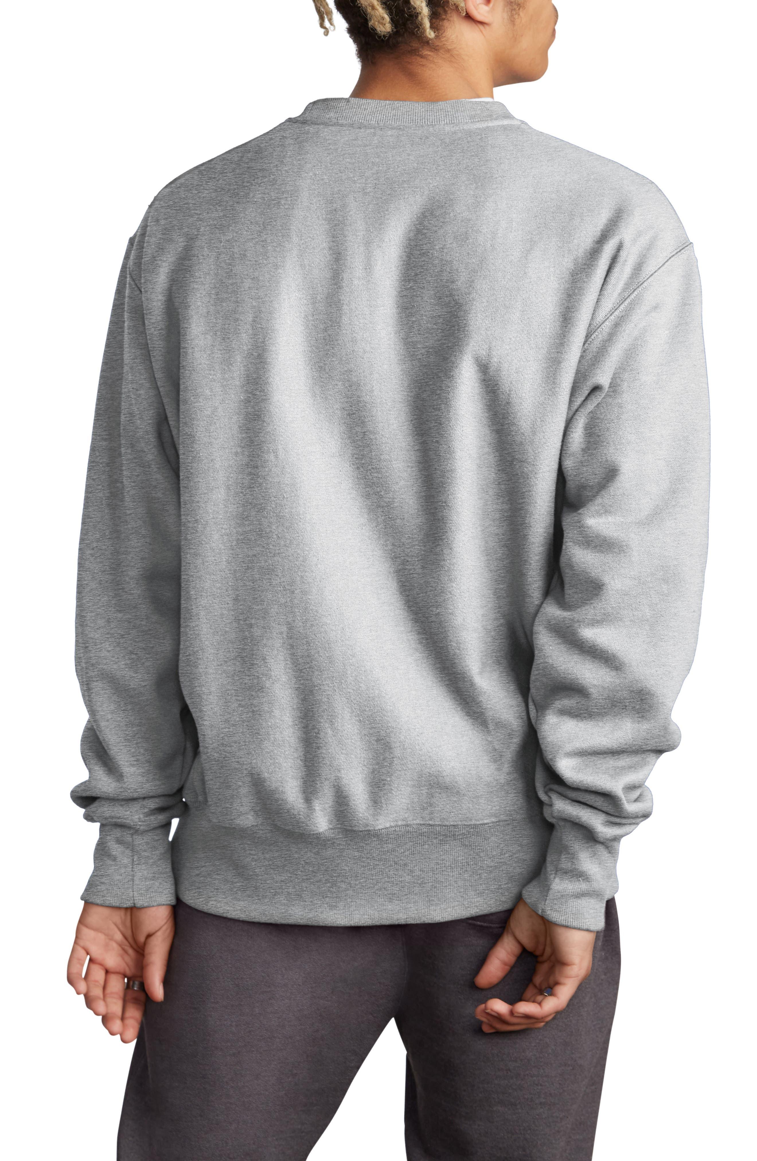 CHAMPION, Sublimated Logo Crewneck Sweatshirt, Alternate thumbnail 2, color, OXFORD GREY
