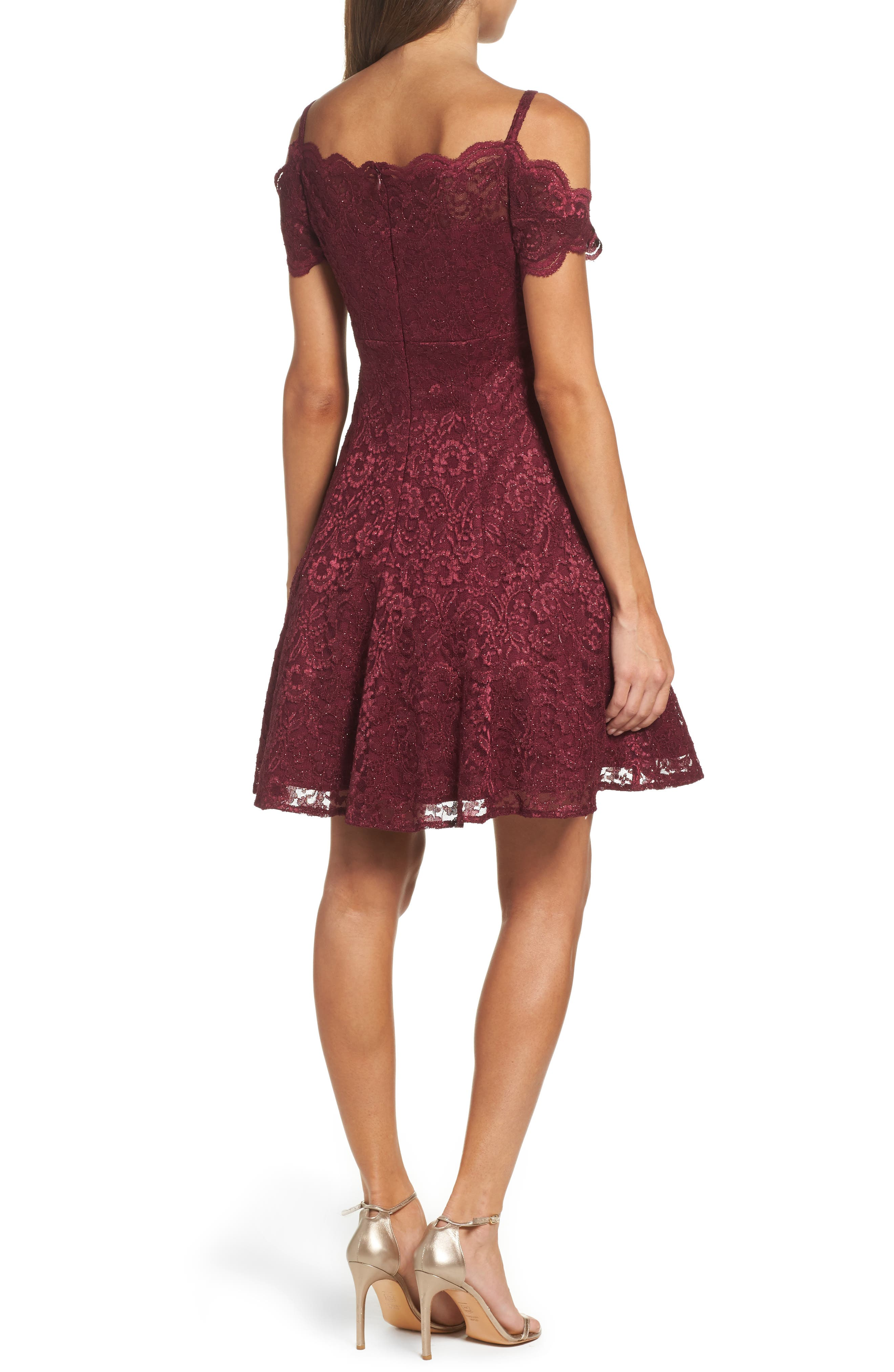 MORGAN & CO., Cold Shoulder Glitter Lace Fit & Flare Dress, Alternate thumbnail 2, color, MERLOT