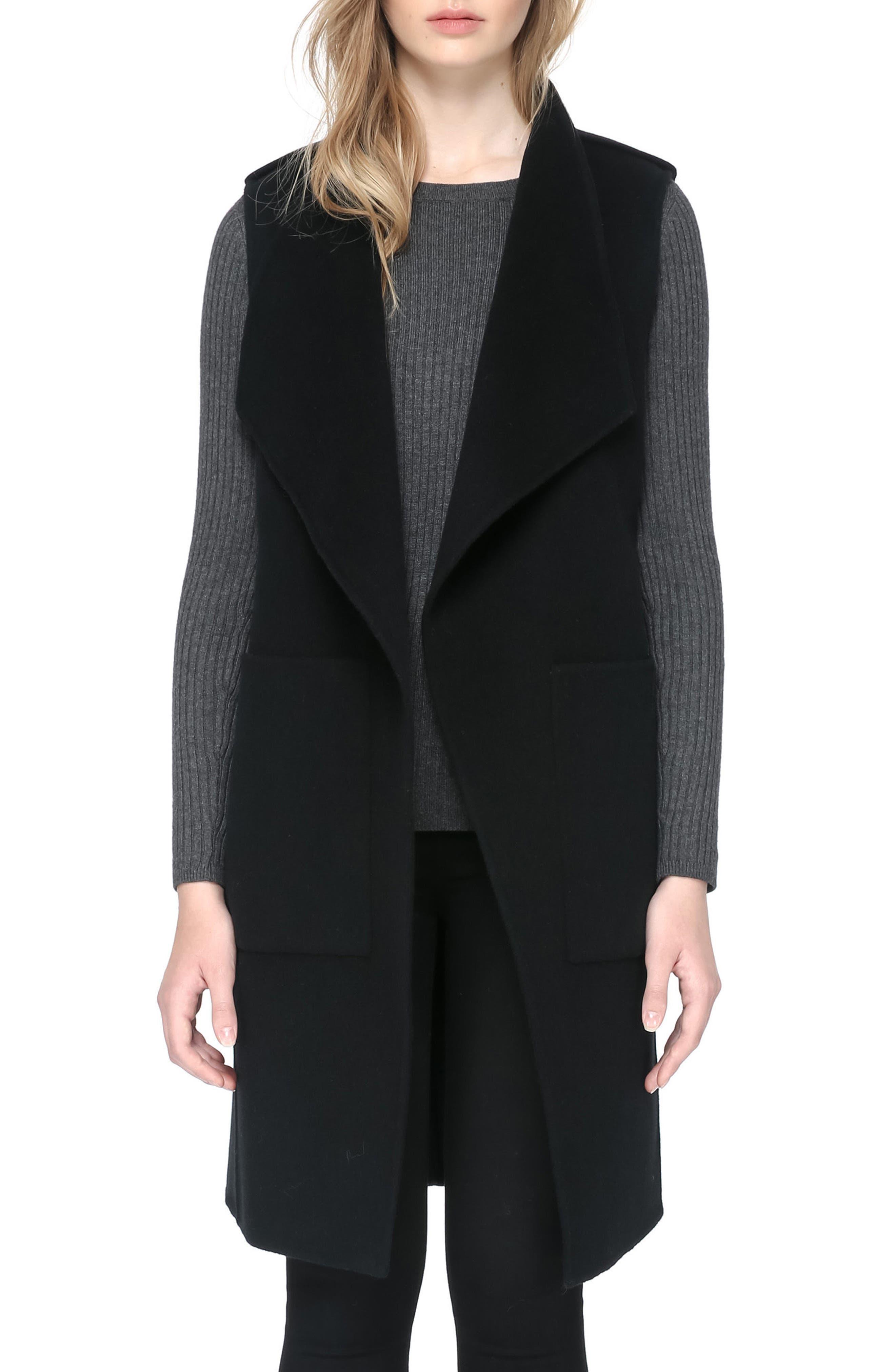 SOIA & KYO, Reversible Wool Blend Vest, Main thumbnail 1, color, 001