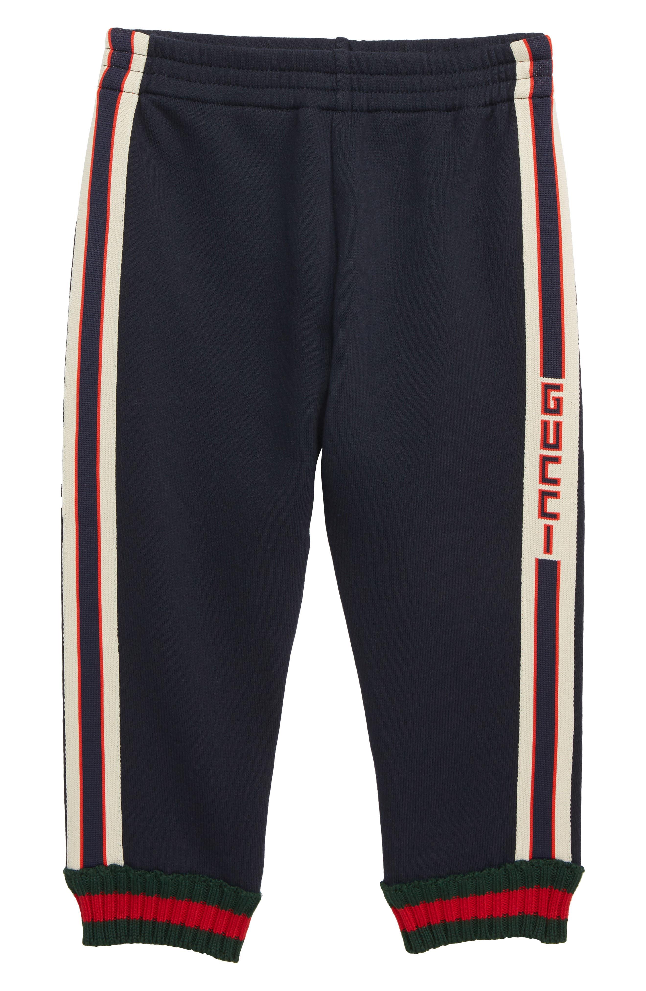 GUCCI, Logo Stripe Jogging Pants, Main thumbnail 1, color, MULTI BLUE