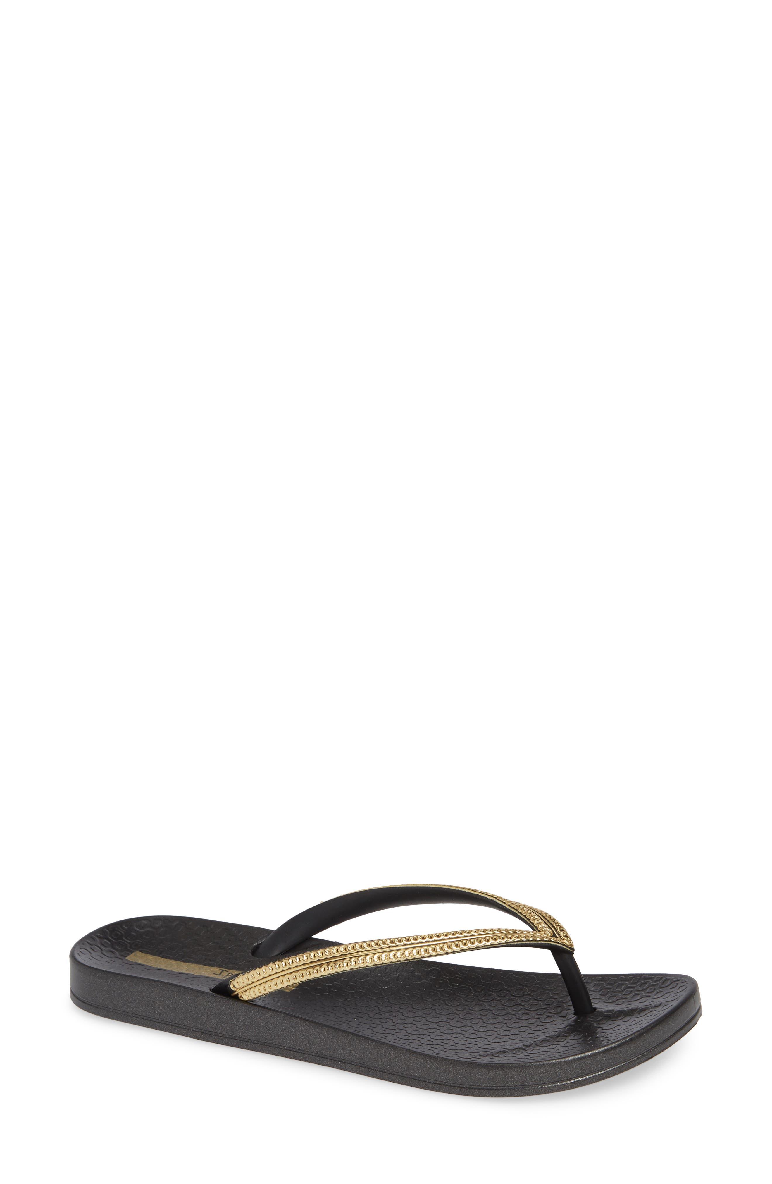IPANEMA Ana Metallic Flip Flop, Main, color, BLACK/ GOLD