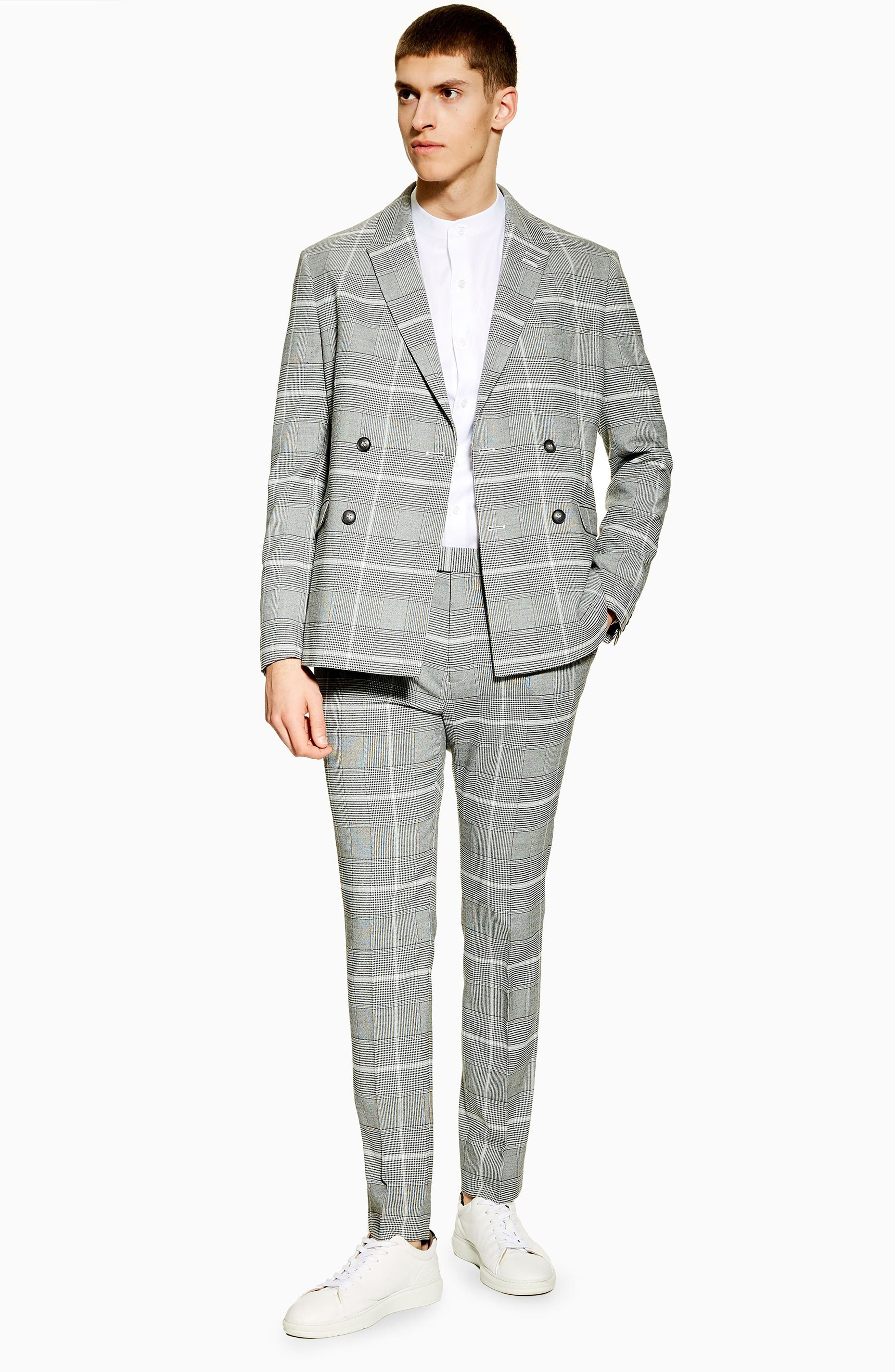 TOPMAN, Skinny Fit Check Suit Jacket, Alternate thumbnail 5, color, 020