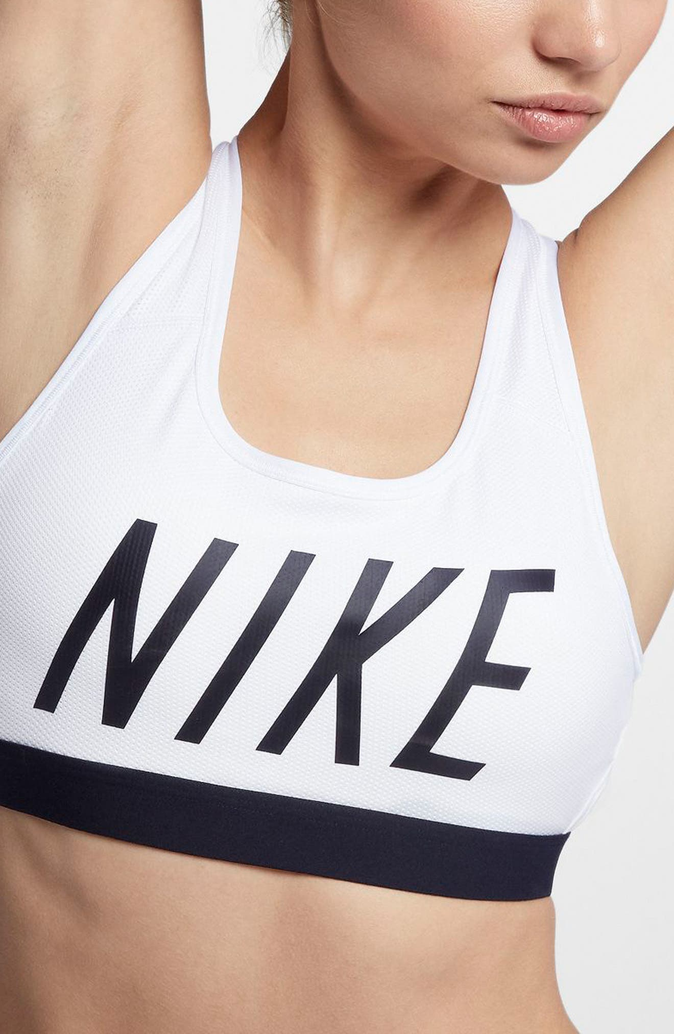 NIKE, Classic Logo Sports Bra, Alternate thumbnail 9, color, WHITE/ BLACK/ BLACK