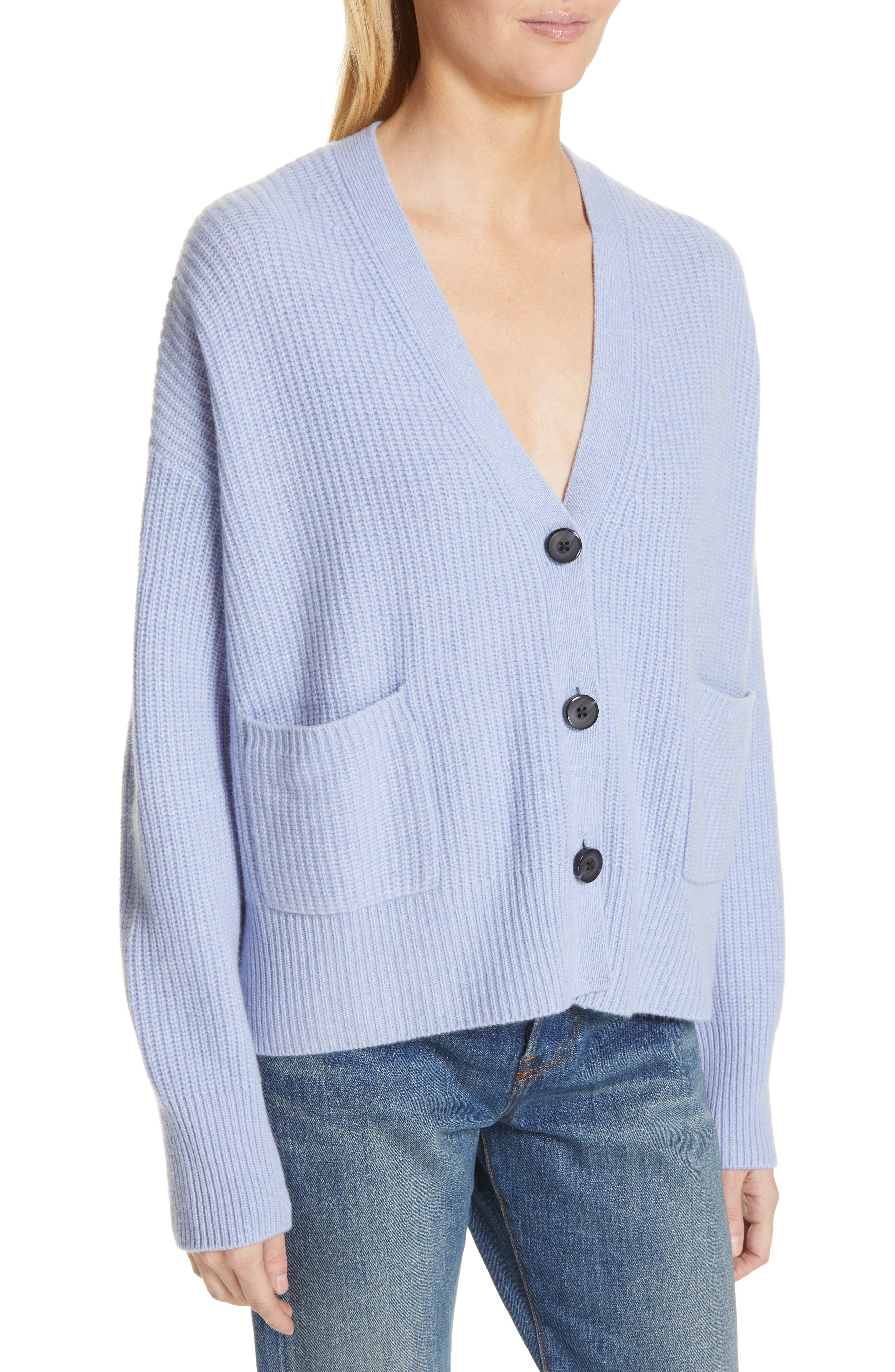 NORDSTROM SIGNATURE, Cashmere Pocket Cardigan, Alternate thumbnail 4, color, BLUE LUSTRE HEATHER