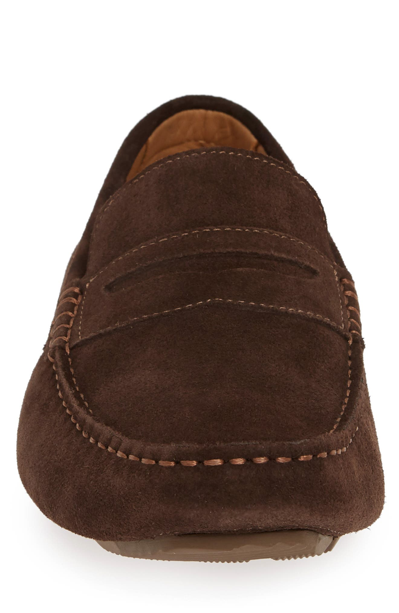 1901, Bermuda Penny Loafer, Alternate thumbnail 4, color, BROWN SUEDE