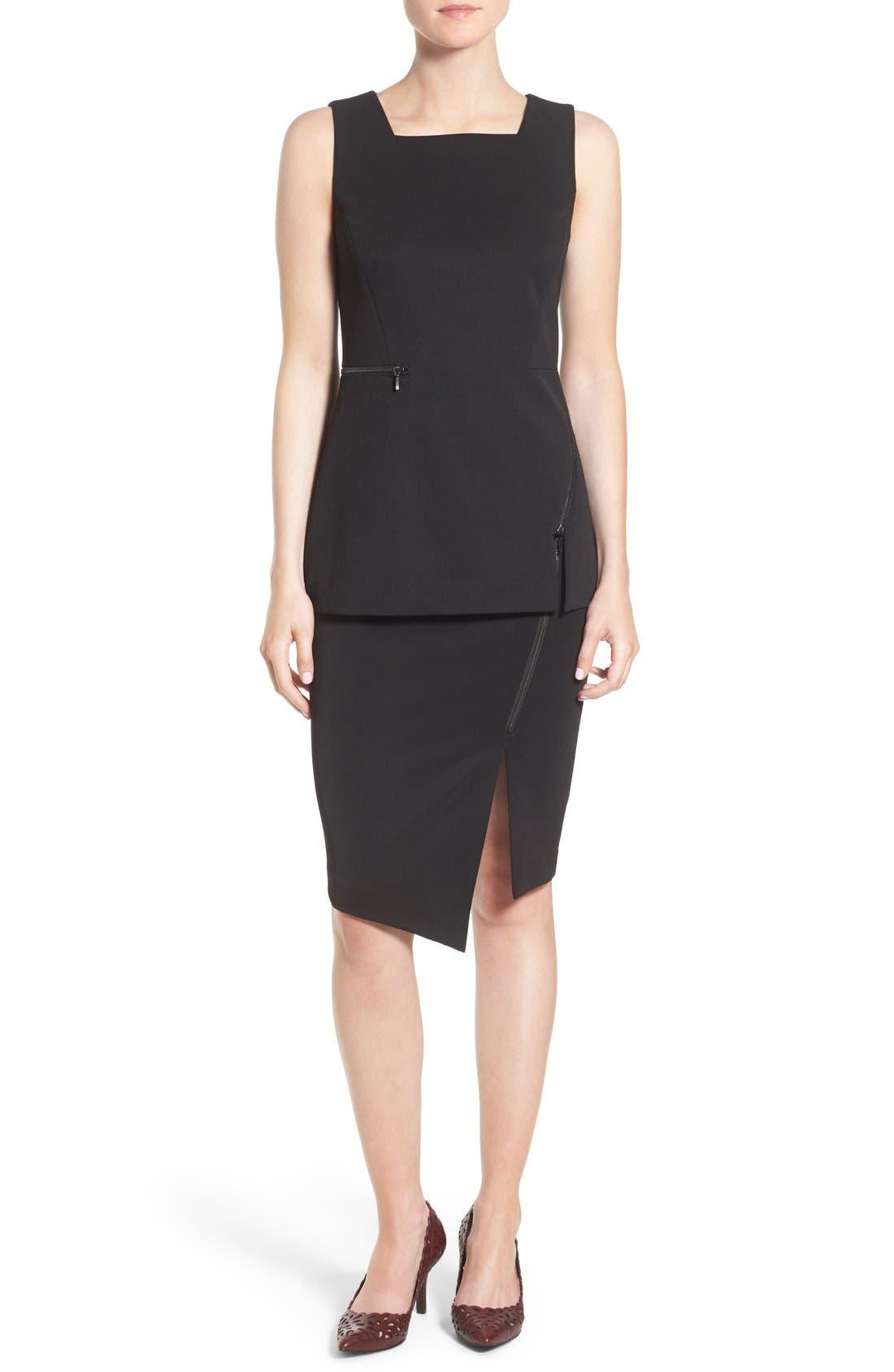 HALOGEN<SUP>®</SUP>, Asymmetrical Zip Pencil Skirt, Alternate thumbnail 6, color, 001