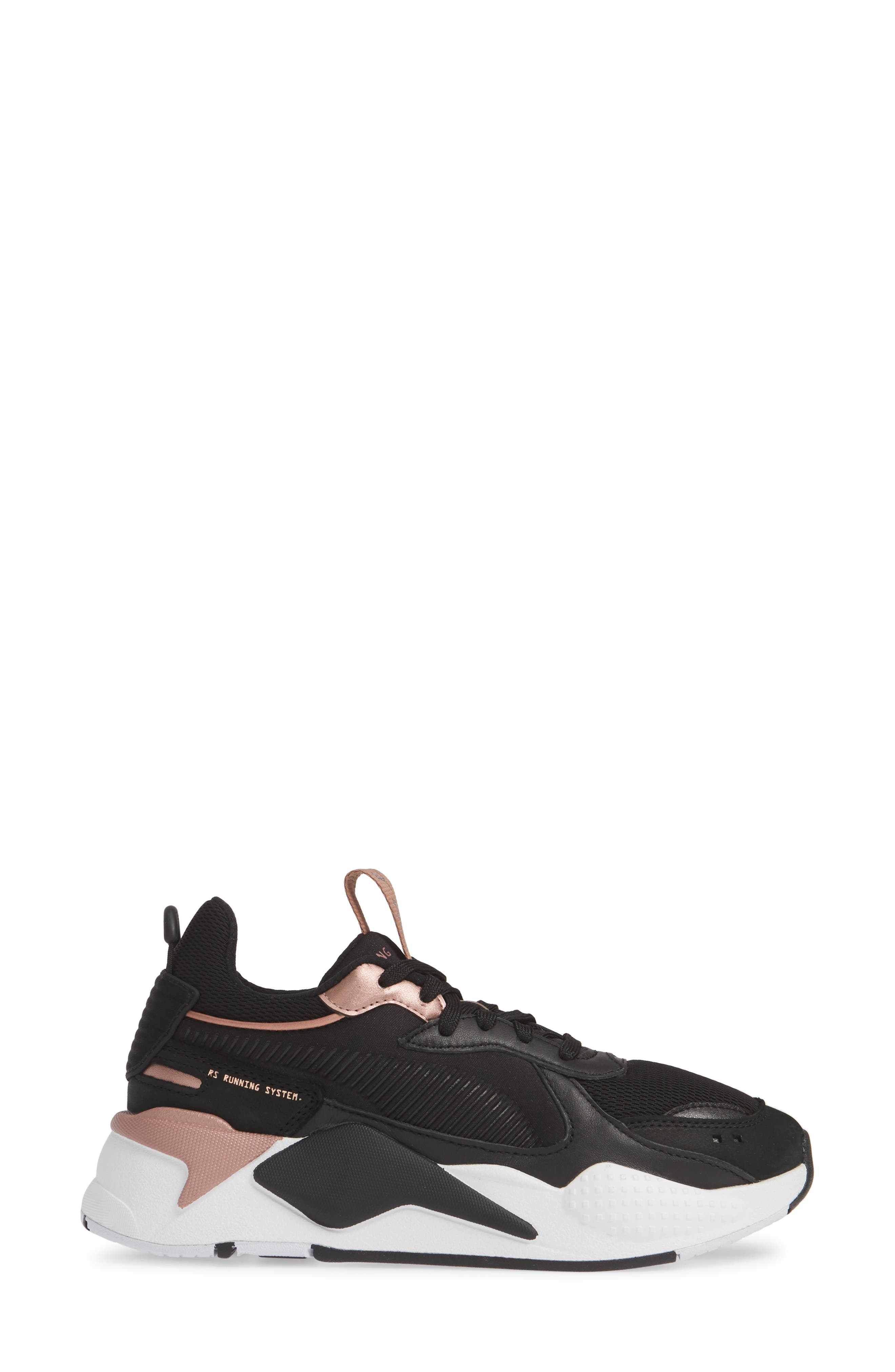 PUMA, RS-X Trophy Sneaker, Alternate thumbnail 3, color, BLACK/ ROSE GOLD