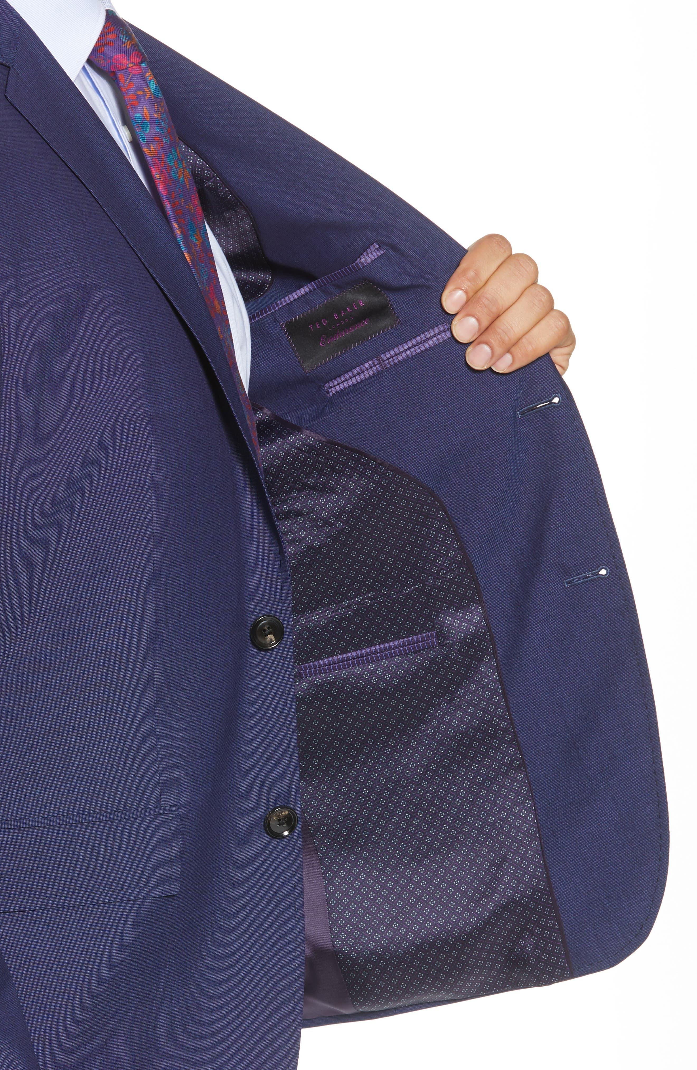 TED BAKER LONDON, Jay Trim Fit Suit, Alternate thumbnail 4, color, BLUE