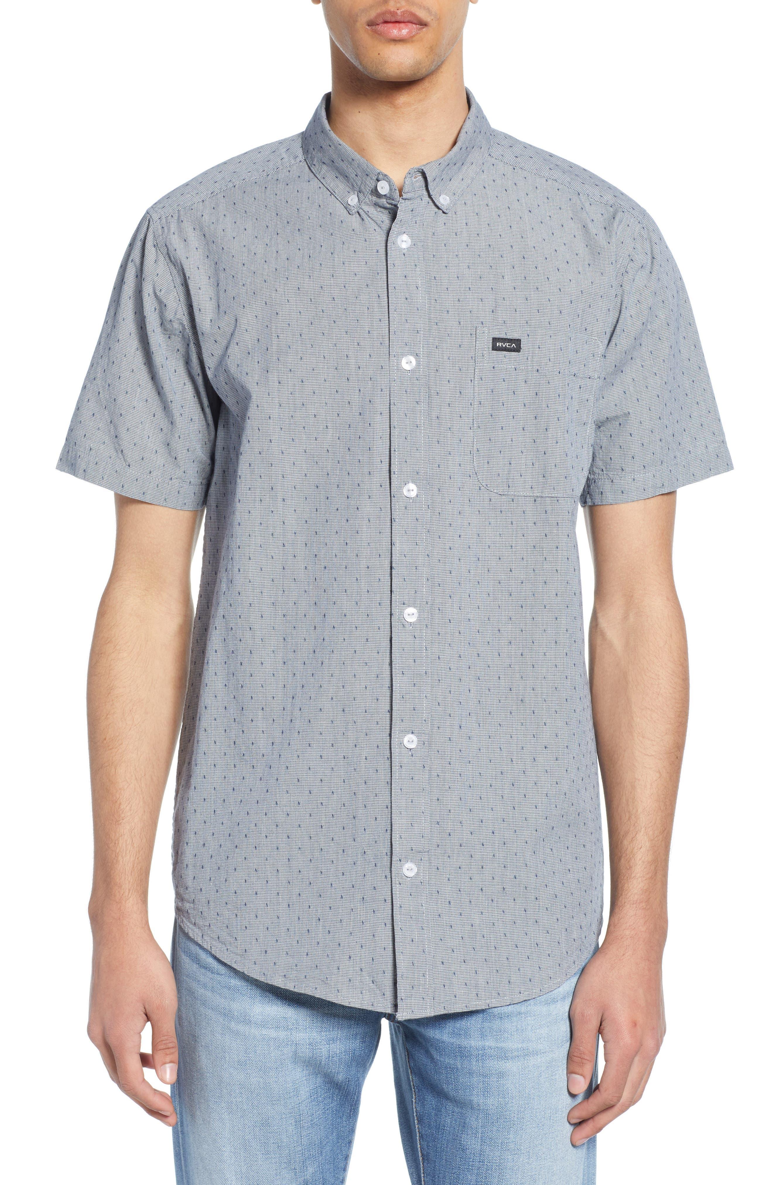 RVCA That'll Do Dobby Short Sleeve Sport Shirt, Main, color, SEATTLE BLUE