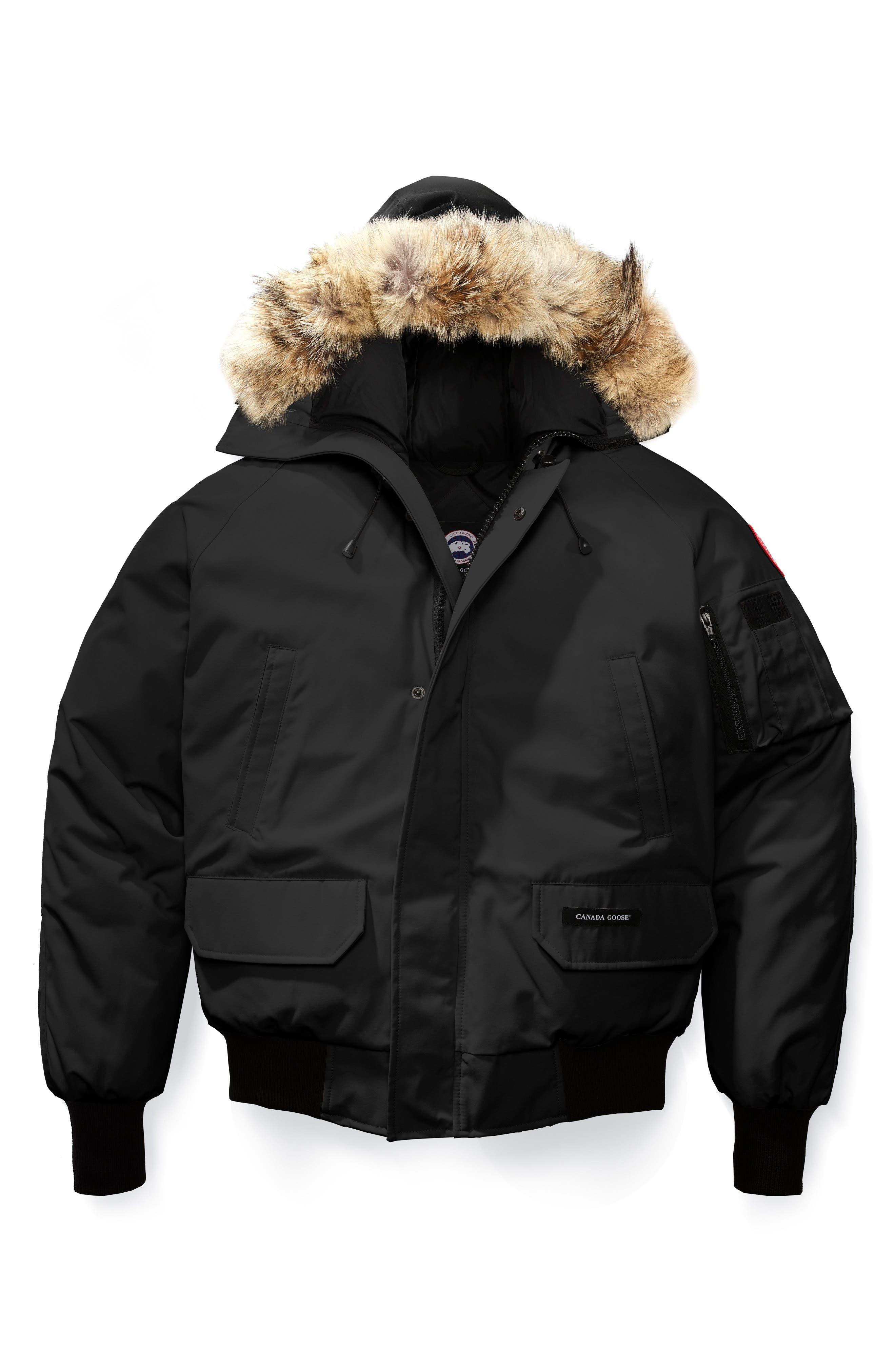 CANADA GOOSE, PBI Chilliwack Regular Fit Down Bomber Jacket with Genuine Coyote Trim, Alternate thumbnail 5, color, BLACK