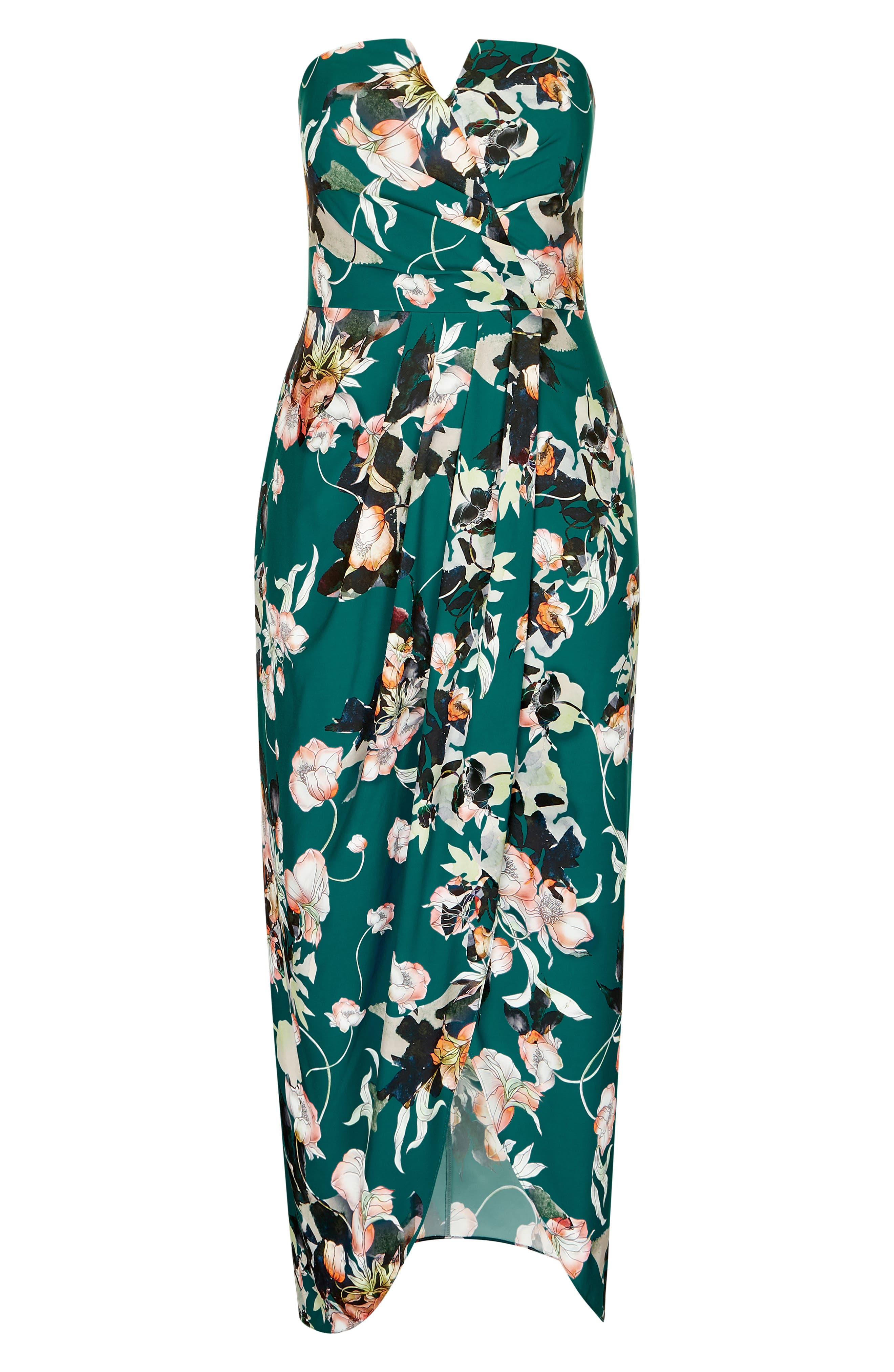 CITY CHIC, Emerald Bloom Strapless Maxi Dress, Alternate thumbnail 3, color, 302