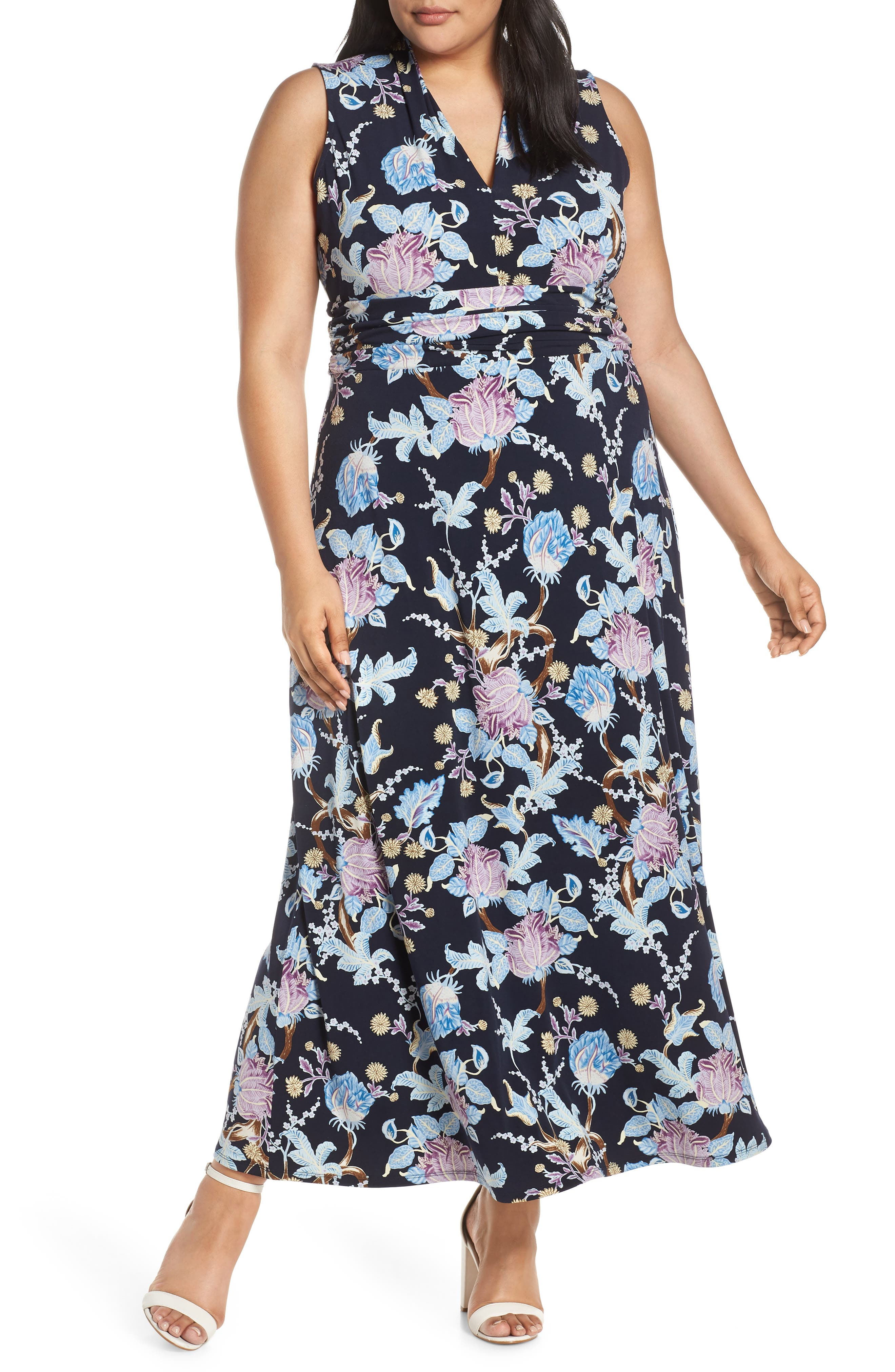 Plus Size Vince Camuto Poetic Blooms Sleeveless Maxi Dress, Blue