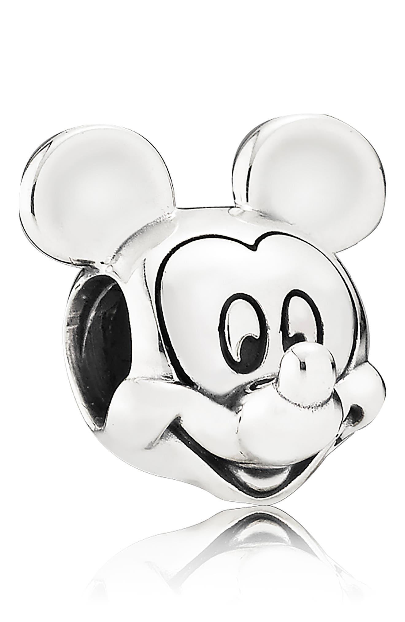 PANDORA, Disney Mickey Mouse Portrait Charm, Main thumbnail 1, color, SILVER