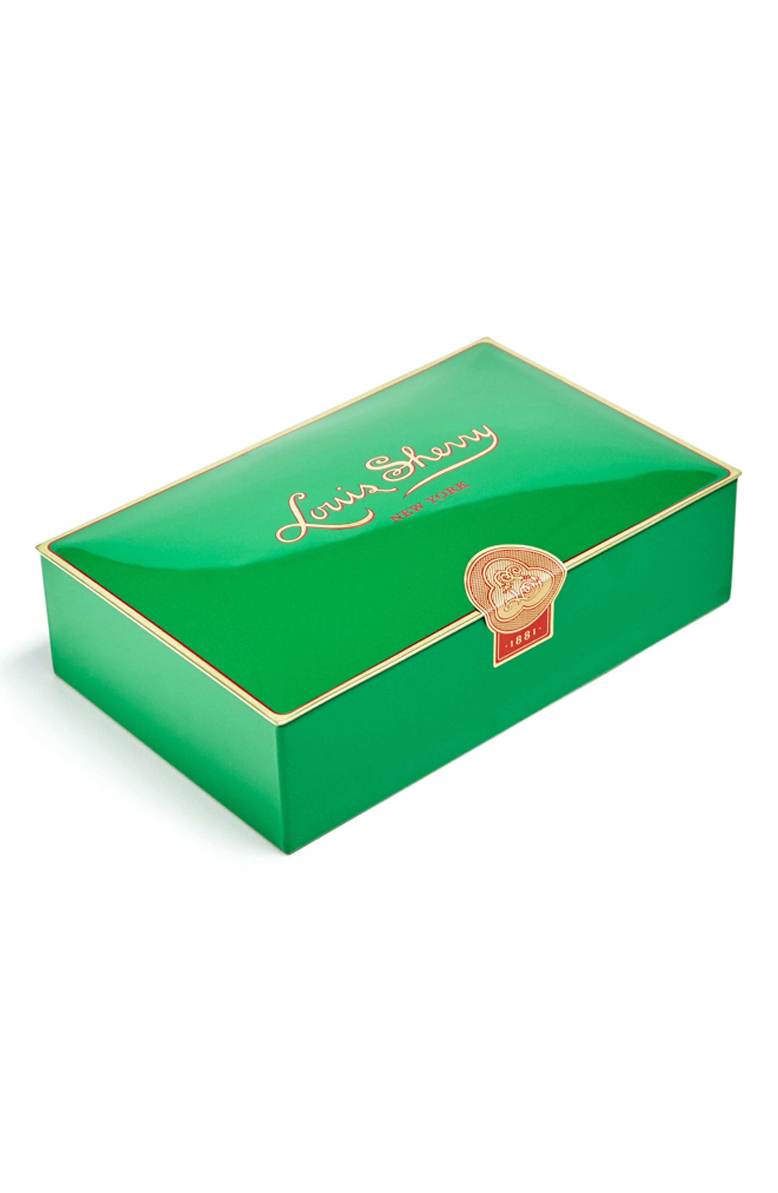 LOUIS SHERRY, 12-Piece Chocolate Truffle Tin, Main thumbnail 1, color, MISTLETOE GREEN