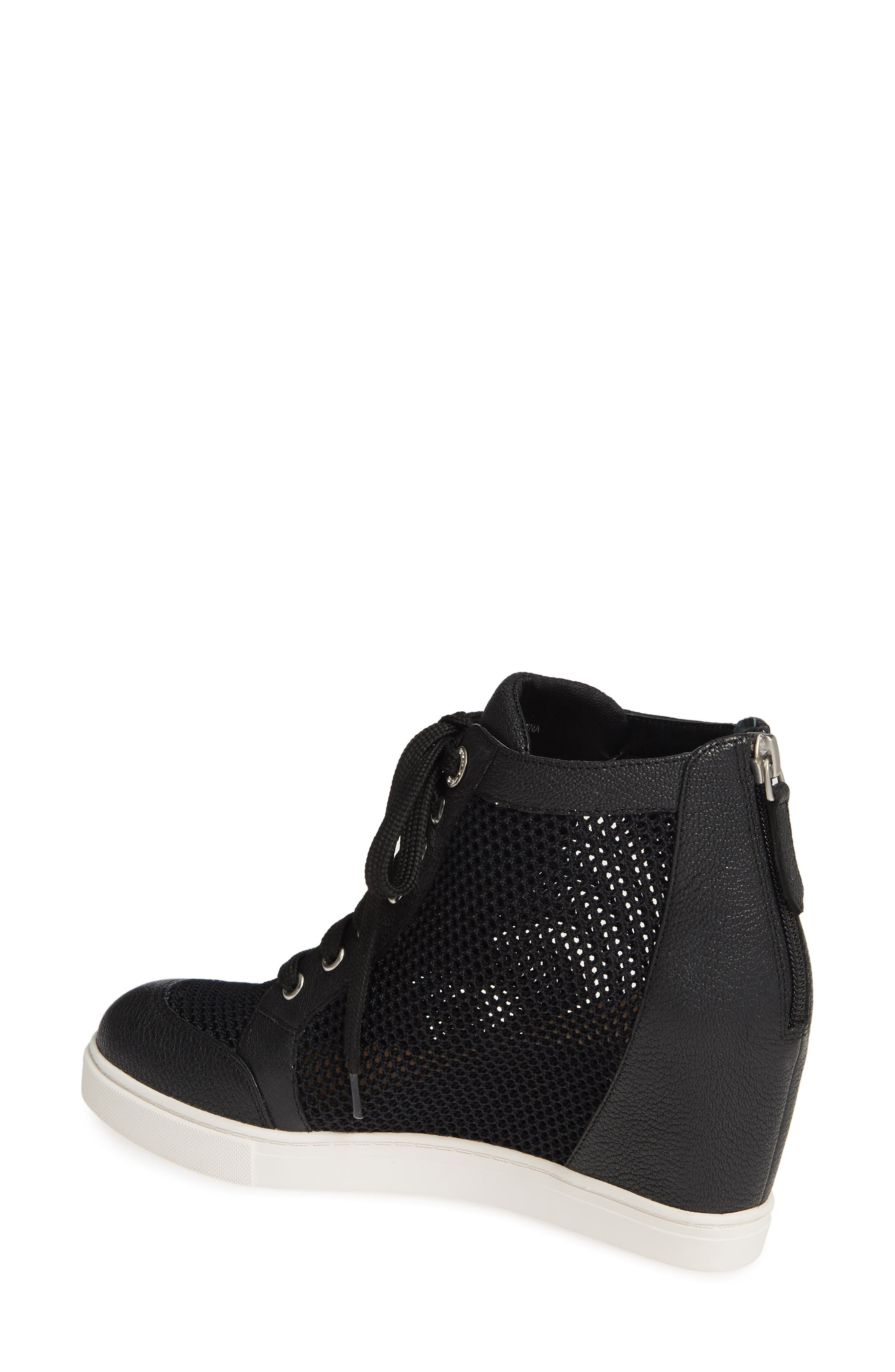 LINEA PAOLO, Finian Mesh Wedge Sneaker Bootie, Alternate thumbnail 2, color, BLACK LEATHER