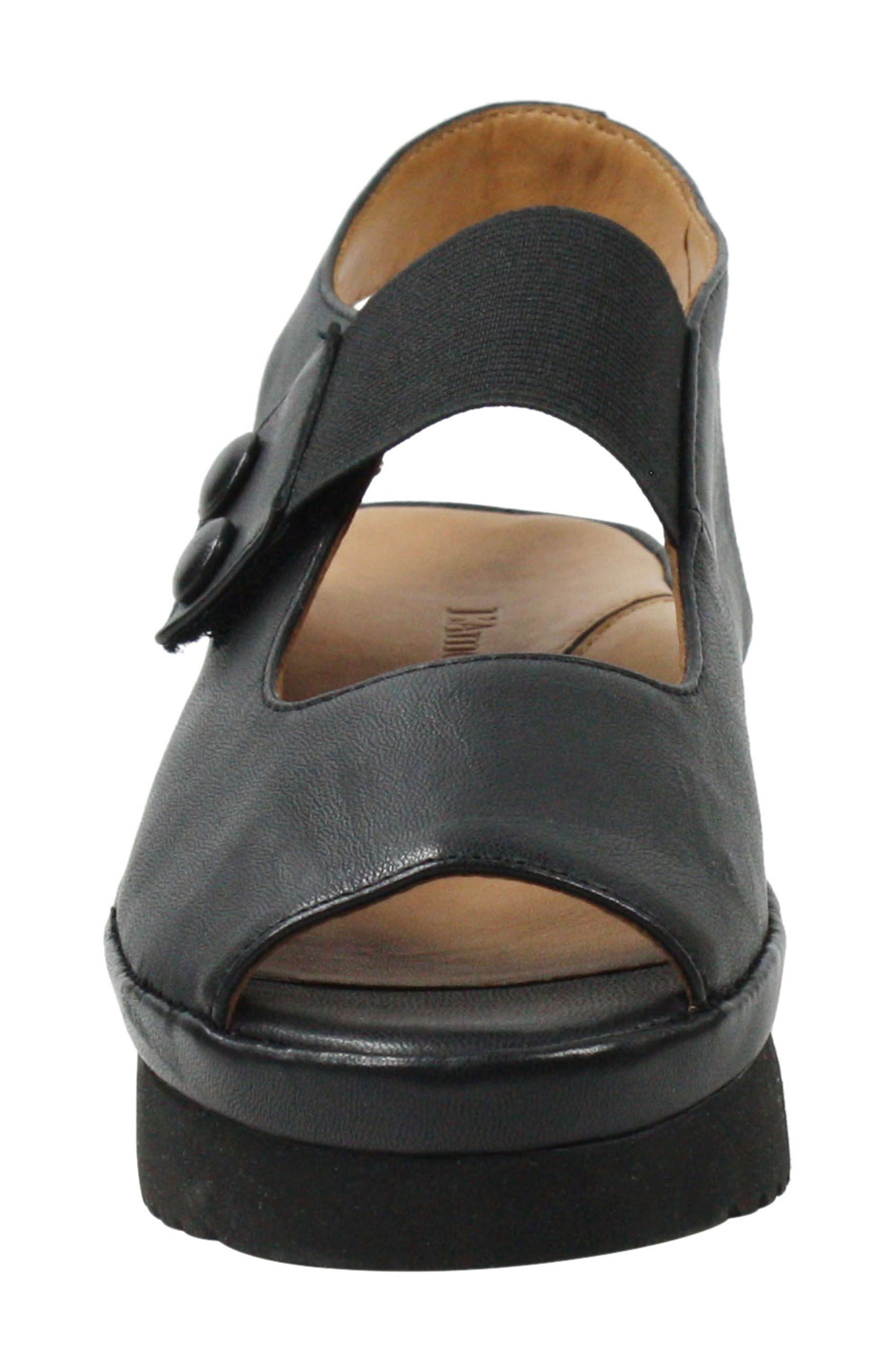 L'AMOUR DES PIEDS, Adalicia Platform Sandal, Alternate thumbnail 4, color, BLACK LEATHER