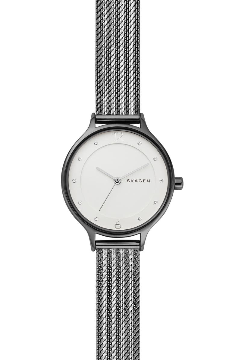 Skagen Watches 'ANITA' CRYSTAL INDEX MESH STRAP WATCH, 30MM