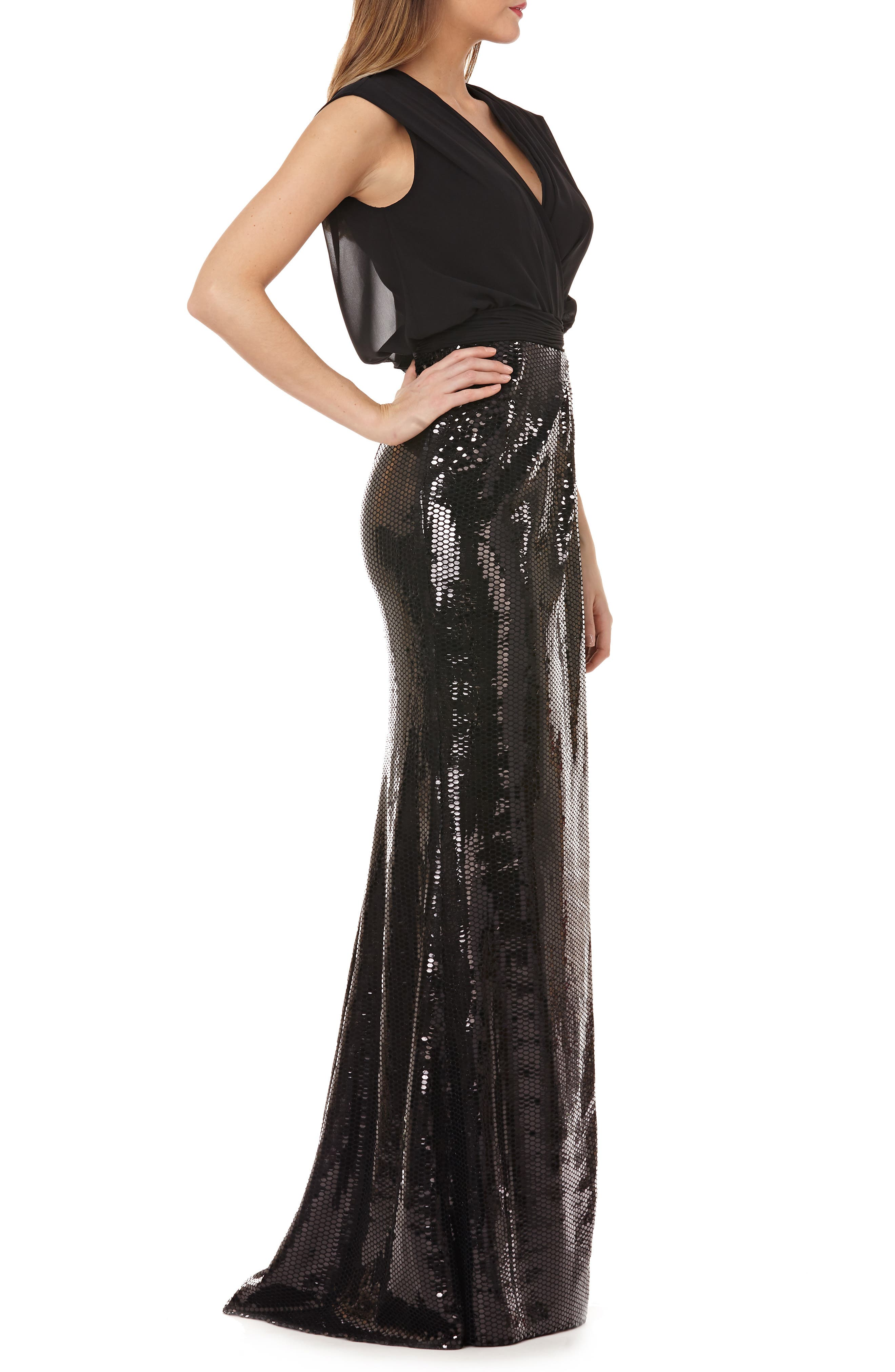KAY UNGER, Sequin Gown, Alternate thumbnail 3, color, 001
