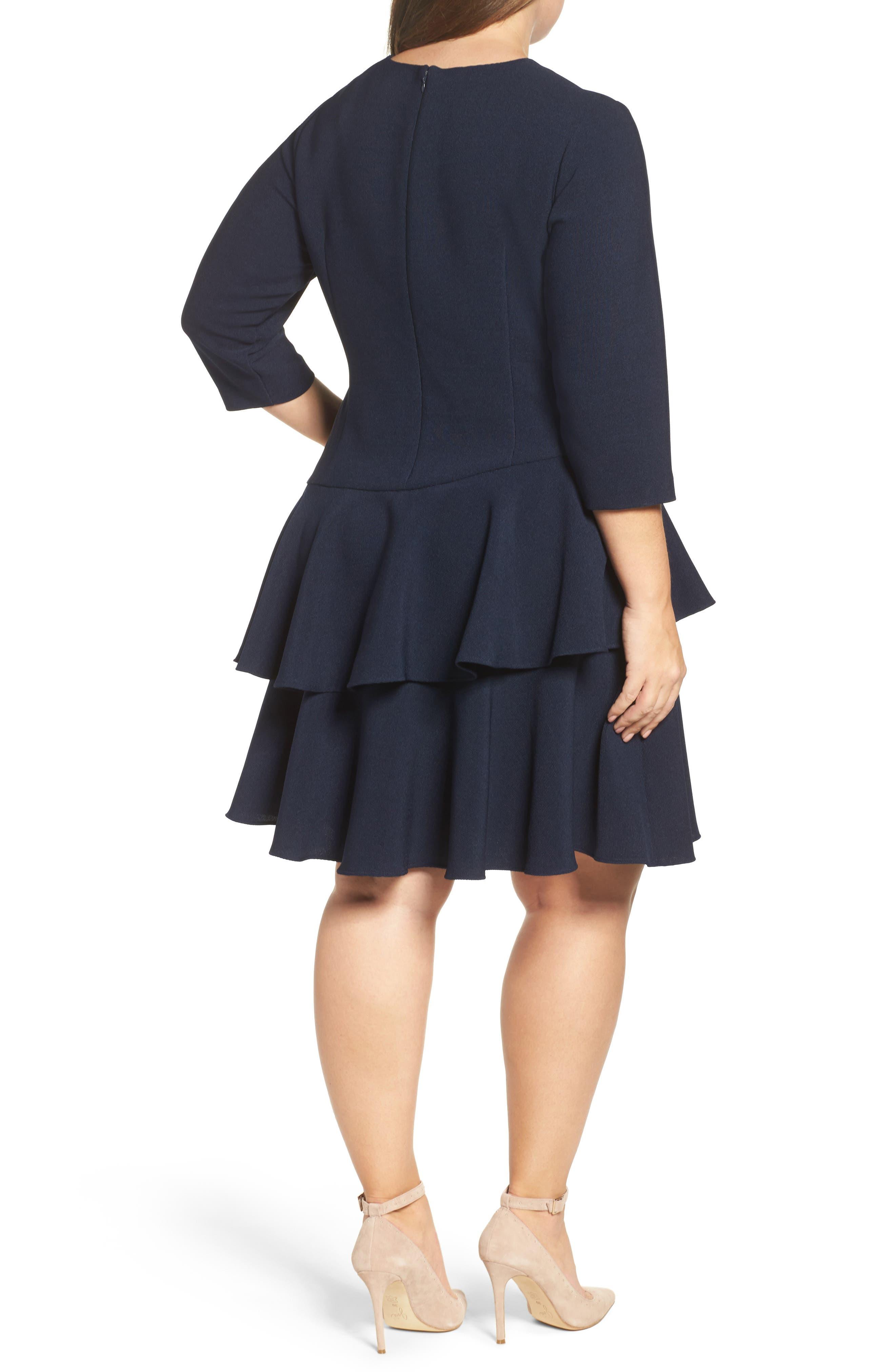 ELIZA J, Ruffle Tiered Sheath Dress, Alternate thumbnail 3, color, NAVY
