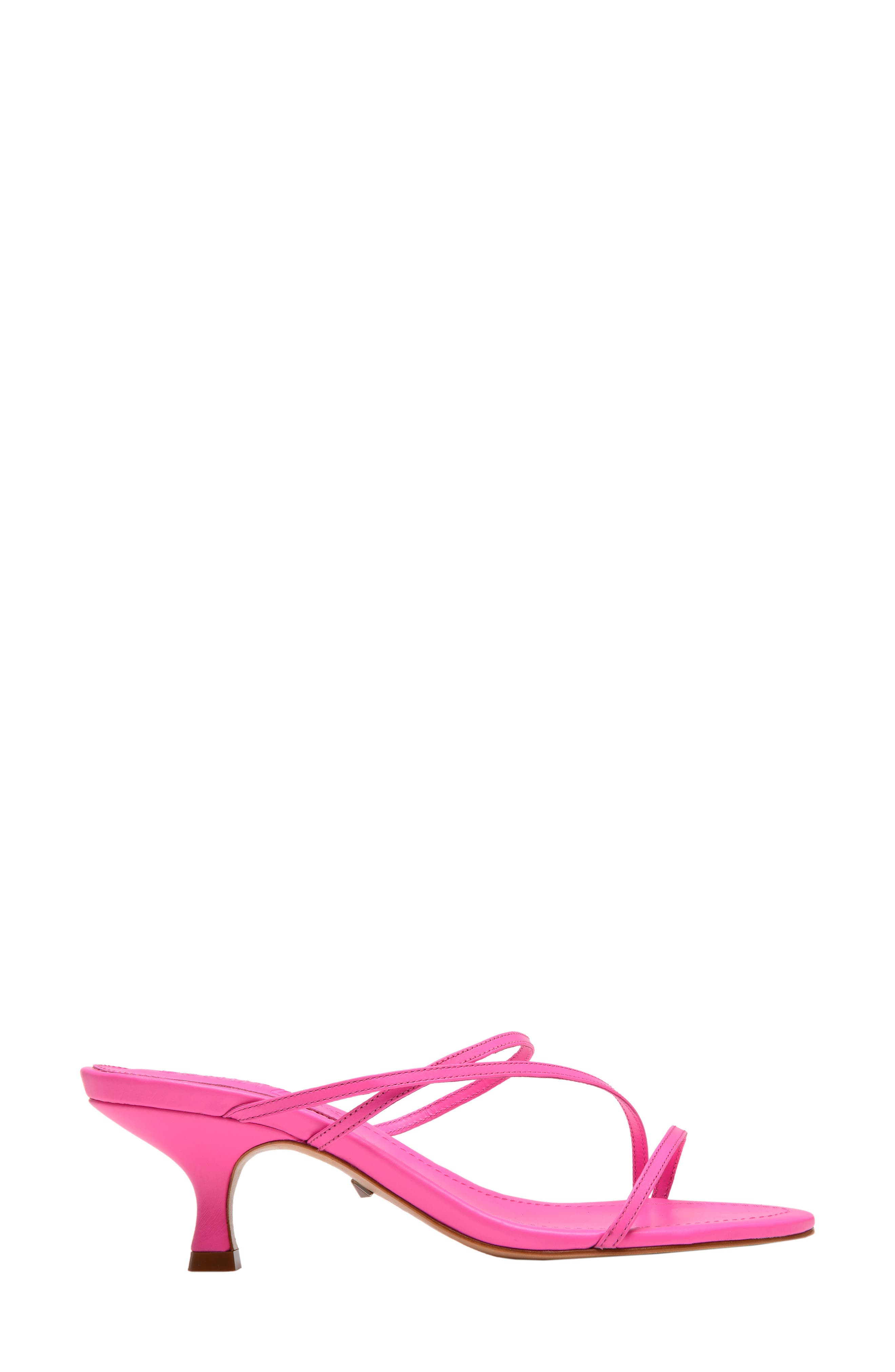 SCHUTZ, Evenise Slide Sandal, Alternate thumbnail 3, color, NEON PINK