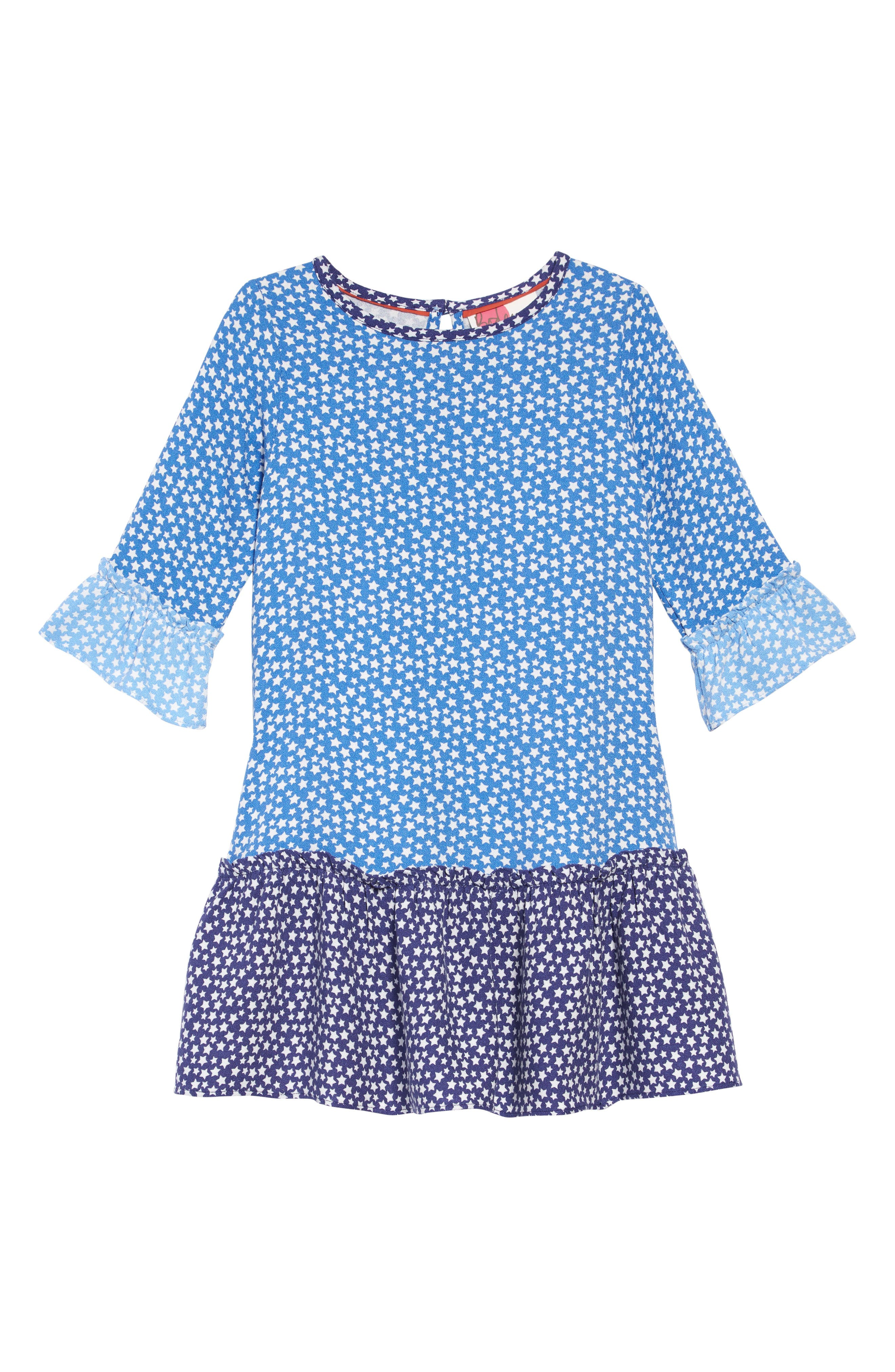 Girls Boden Frill Sleeve Print Dress Size 1112Y  Blue