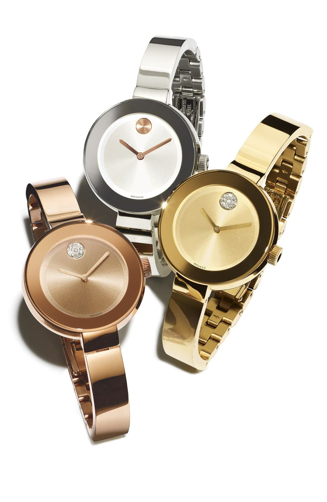 MOVADO, 'Bold' Bangle Watch, 34mm, Alternate thumbnail 2, color, SILVER/ ROSE GOLD