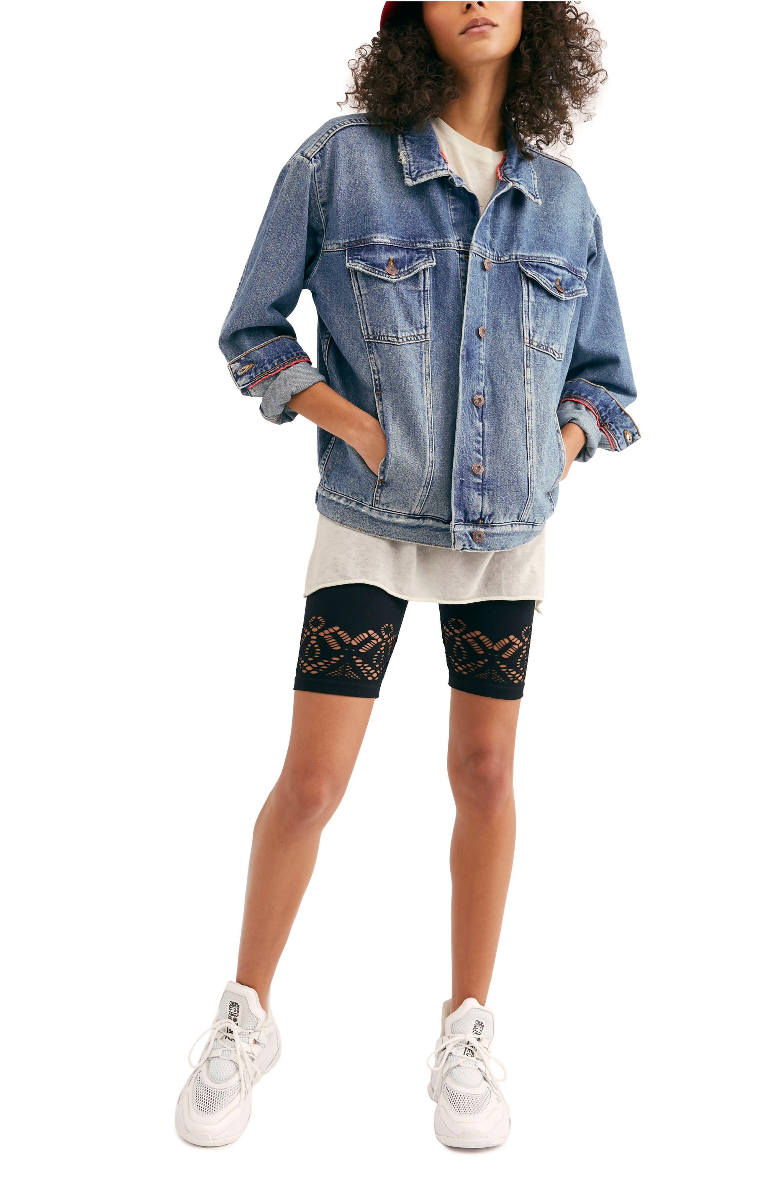 FREE PEOPLE, Ramona Denim Trucker Jacket, Alternate thumbnail 7, color, INDIGO BLUE