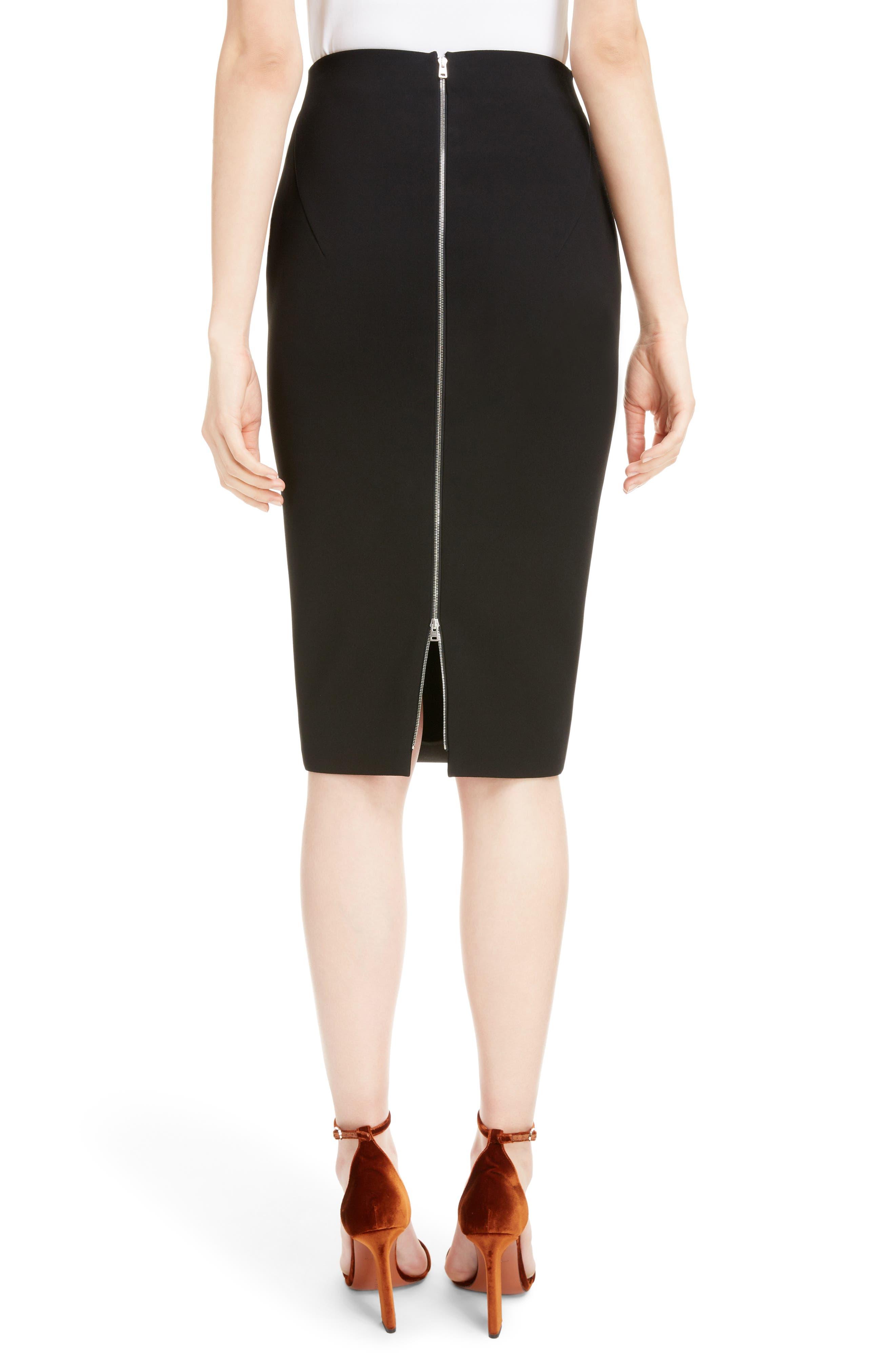 VICTORIA BECKHAM, Back Zip Pencil Skirt, Alternate thumbnail 2, color, BLACK