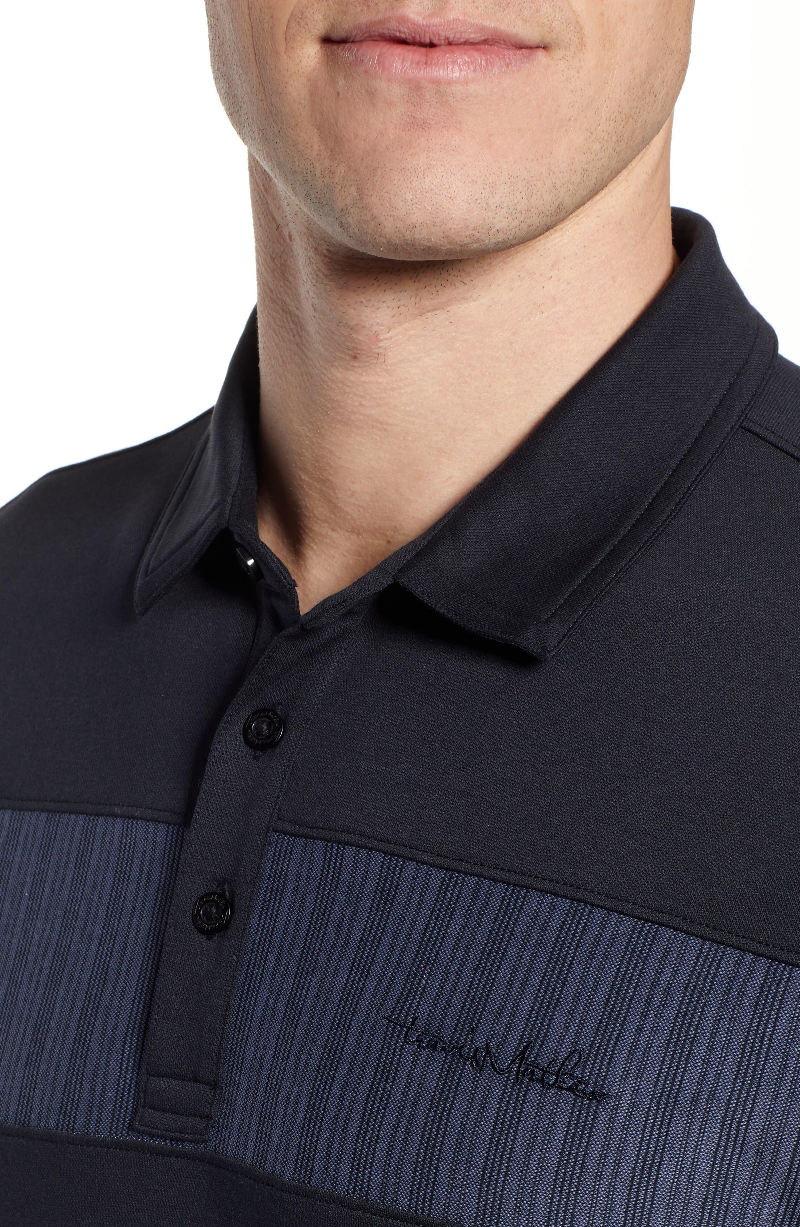 TRAVISMATHEW, Burns Regular Fit Polo, Alternate thumbnail 4, color, BLACK
