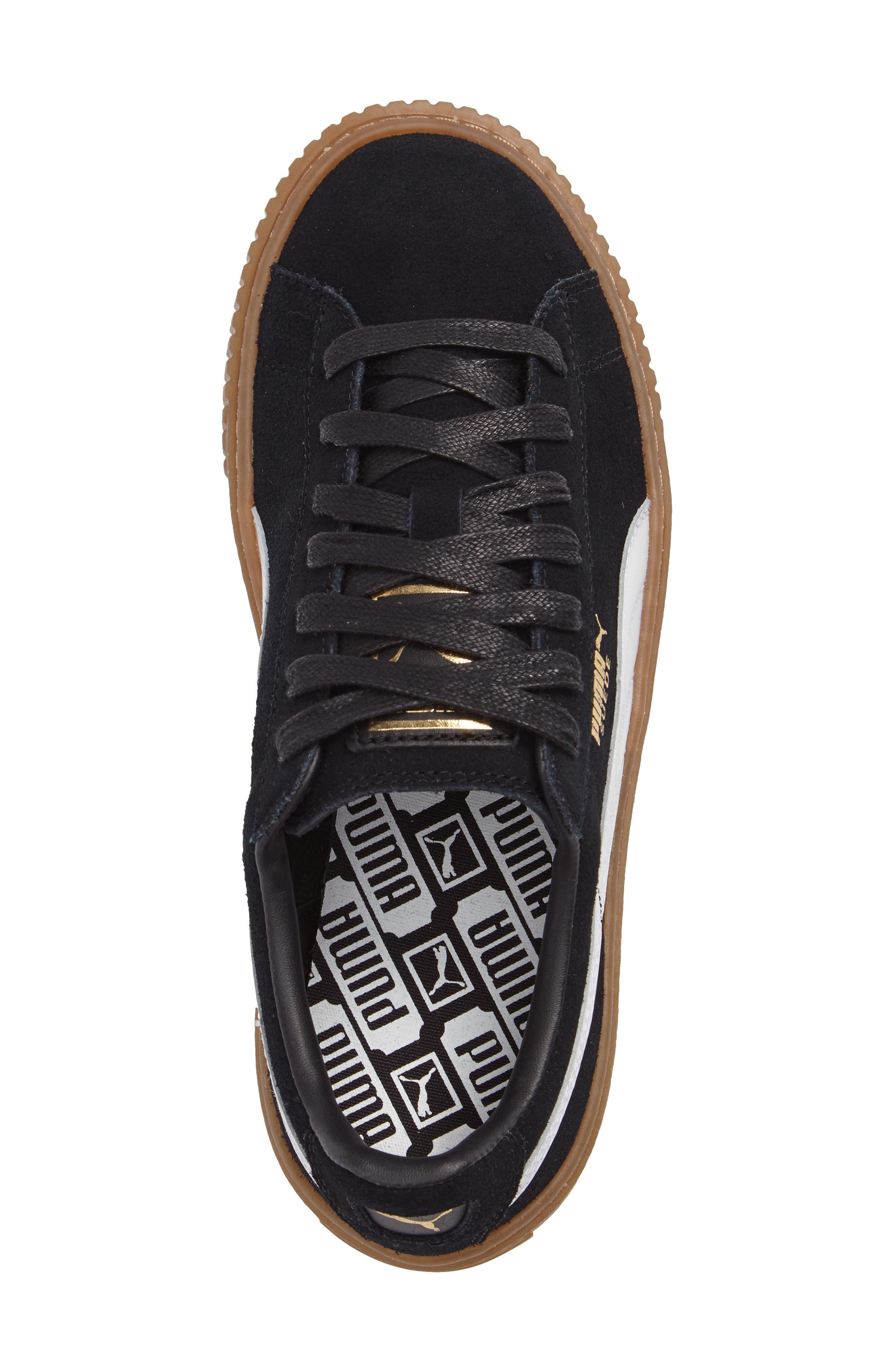 PUMA, Suede Platform Core Sneaker, Alternate thumbnail 3, color, 001