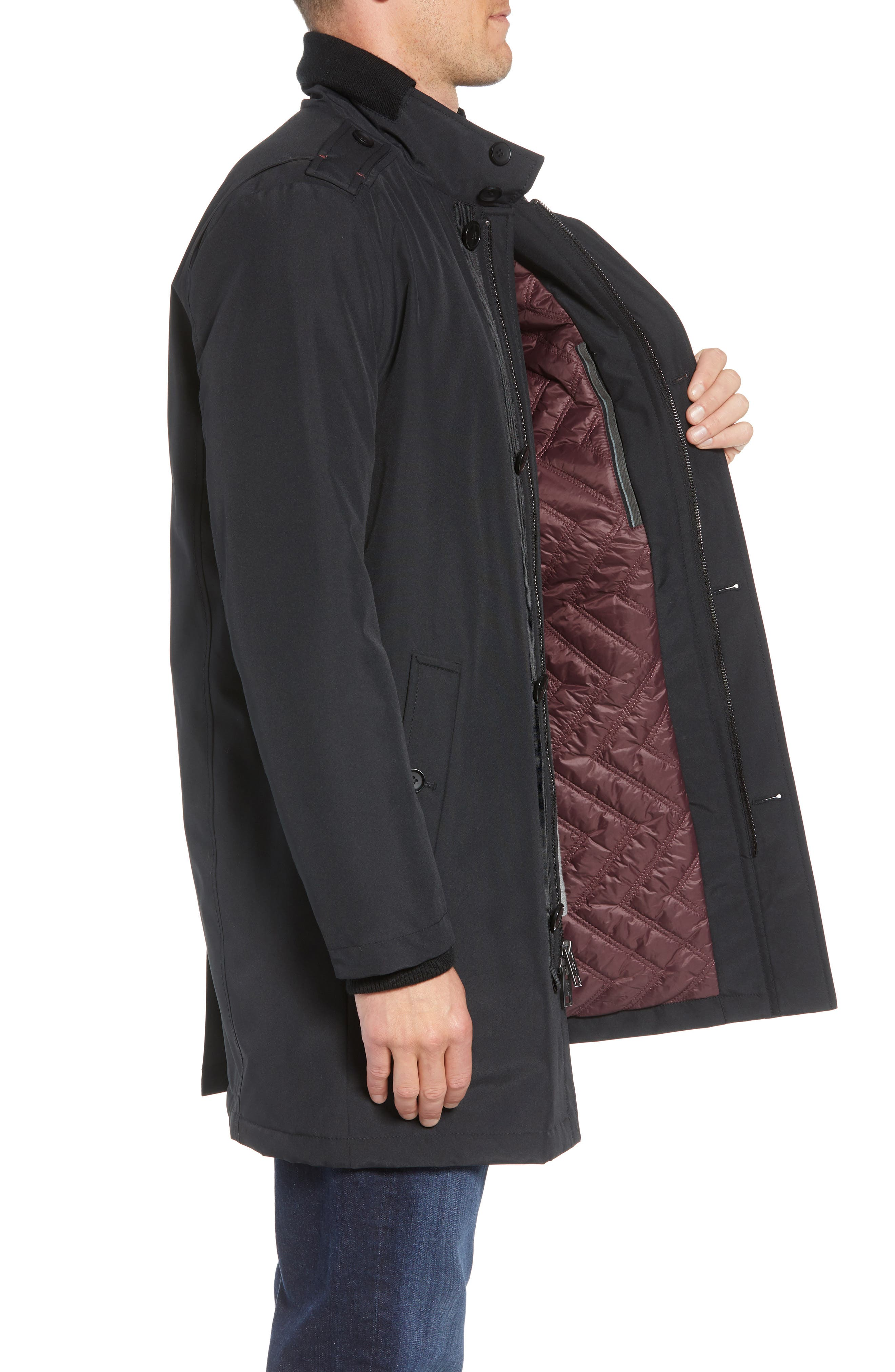 MARC NEW YORK, Cullen Oxford Car Coat, Alternate thumbnail 3, color, BLACK