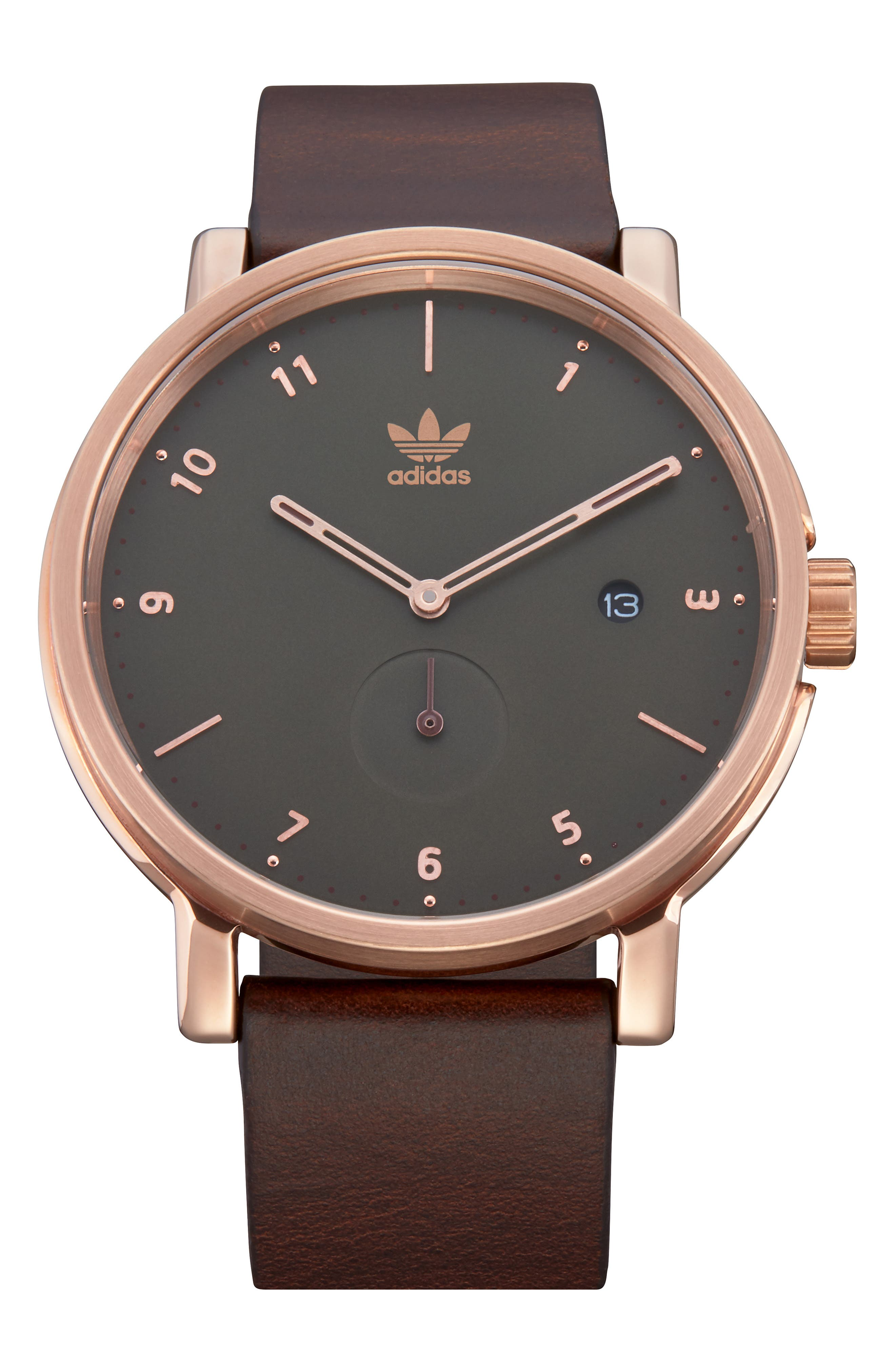 ADIDAS, District Leather Strap Watch, 40mm, Main thumbnail 1, color, BROWN/ OLIVE/ ROSE GOLD