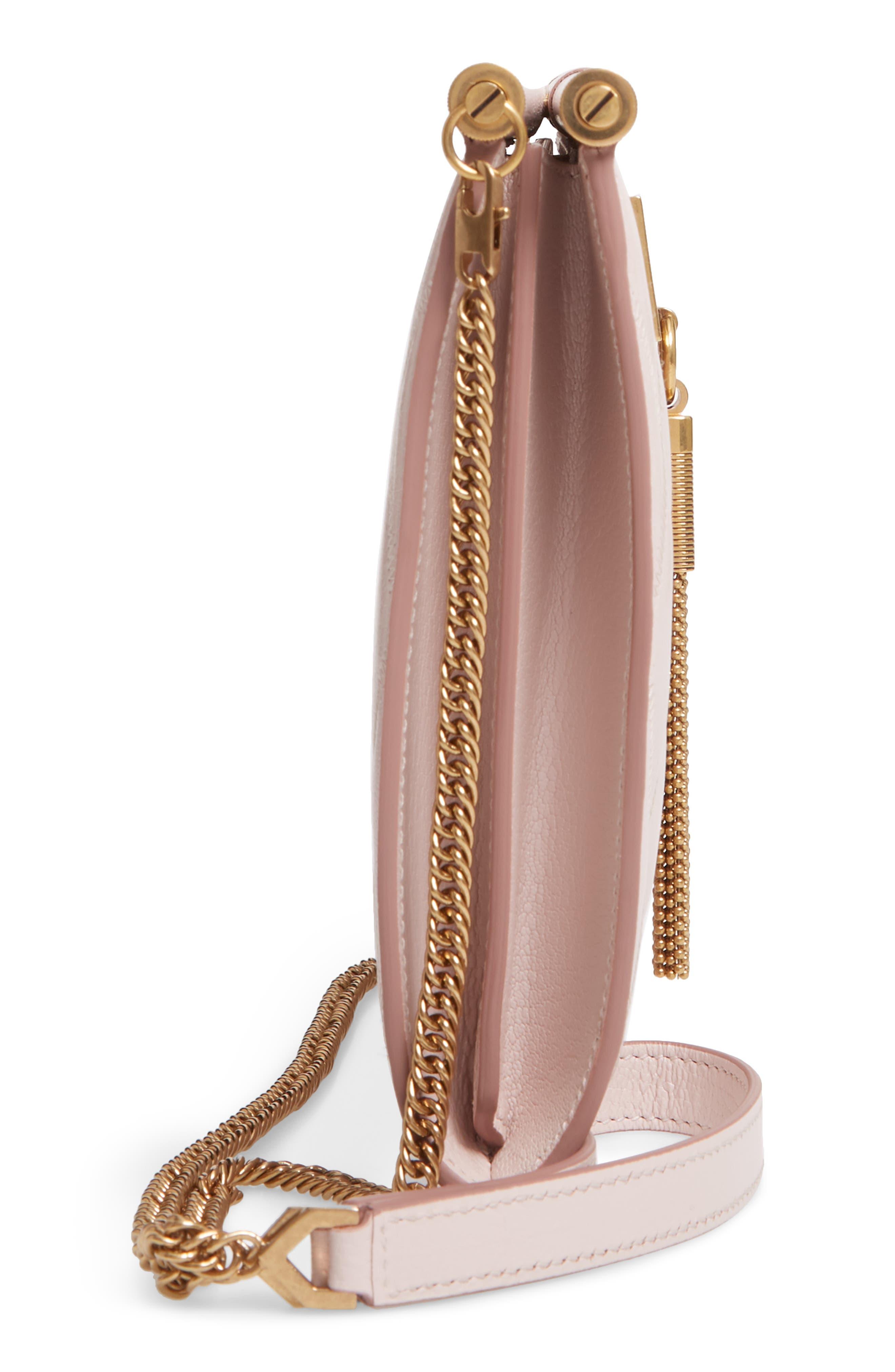 GIVENCHY, Gem Quilted Leather Frame Shoulder Bag, Alternate thumbnail 5, color, PALE PINK