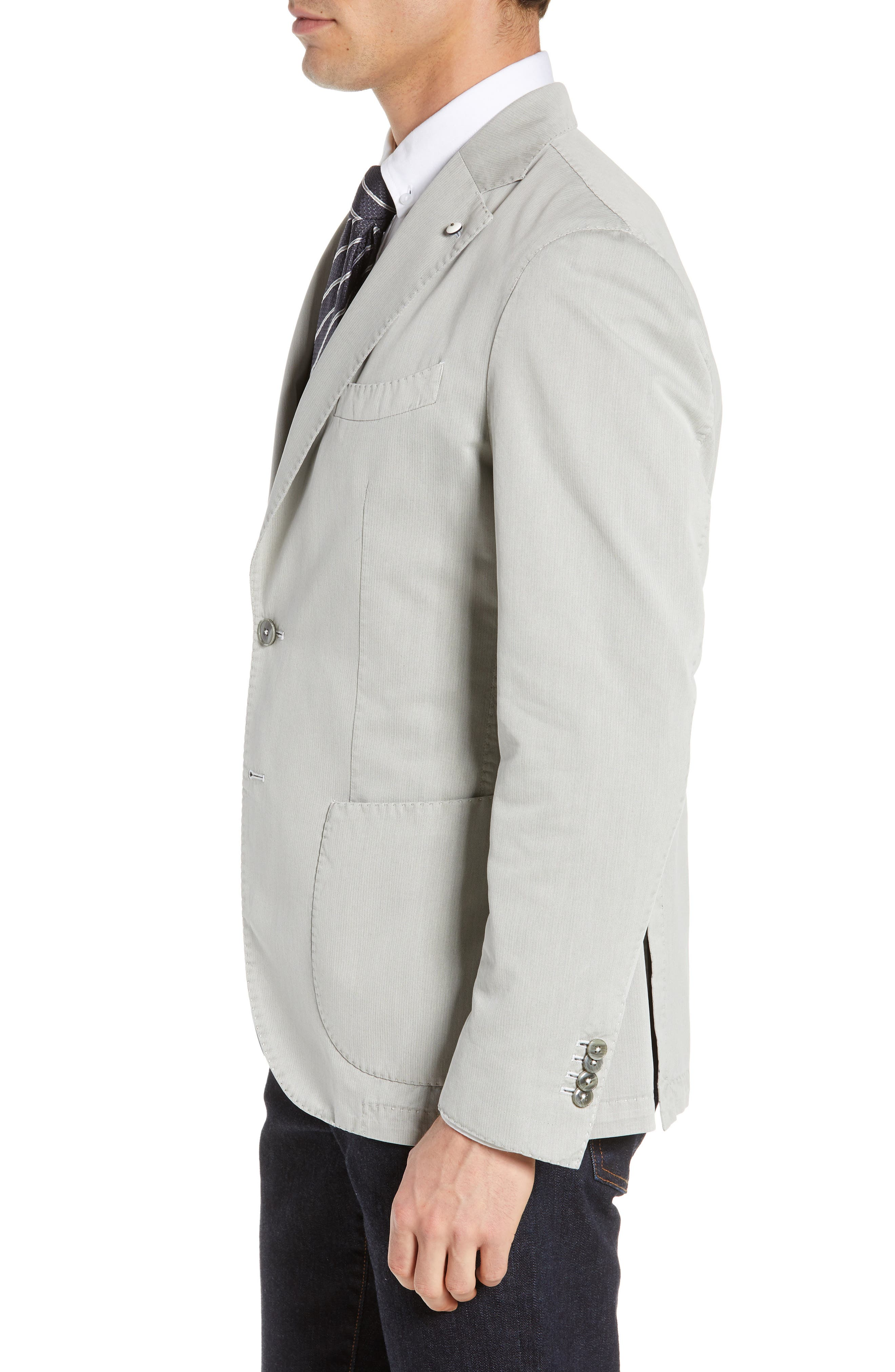 L.B.M. 1911, Trim Fit Herringbone Cotton & Silk Sport Coat, Alternate thumbnail 3, color, LIGHT/ PASTEL GREY