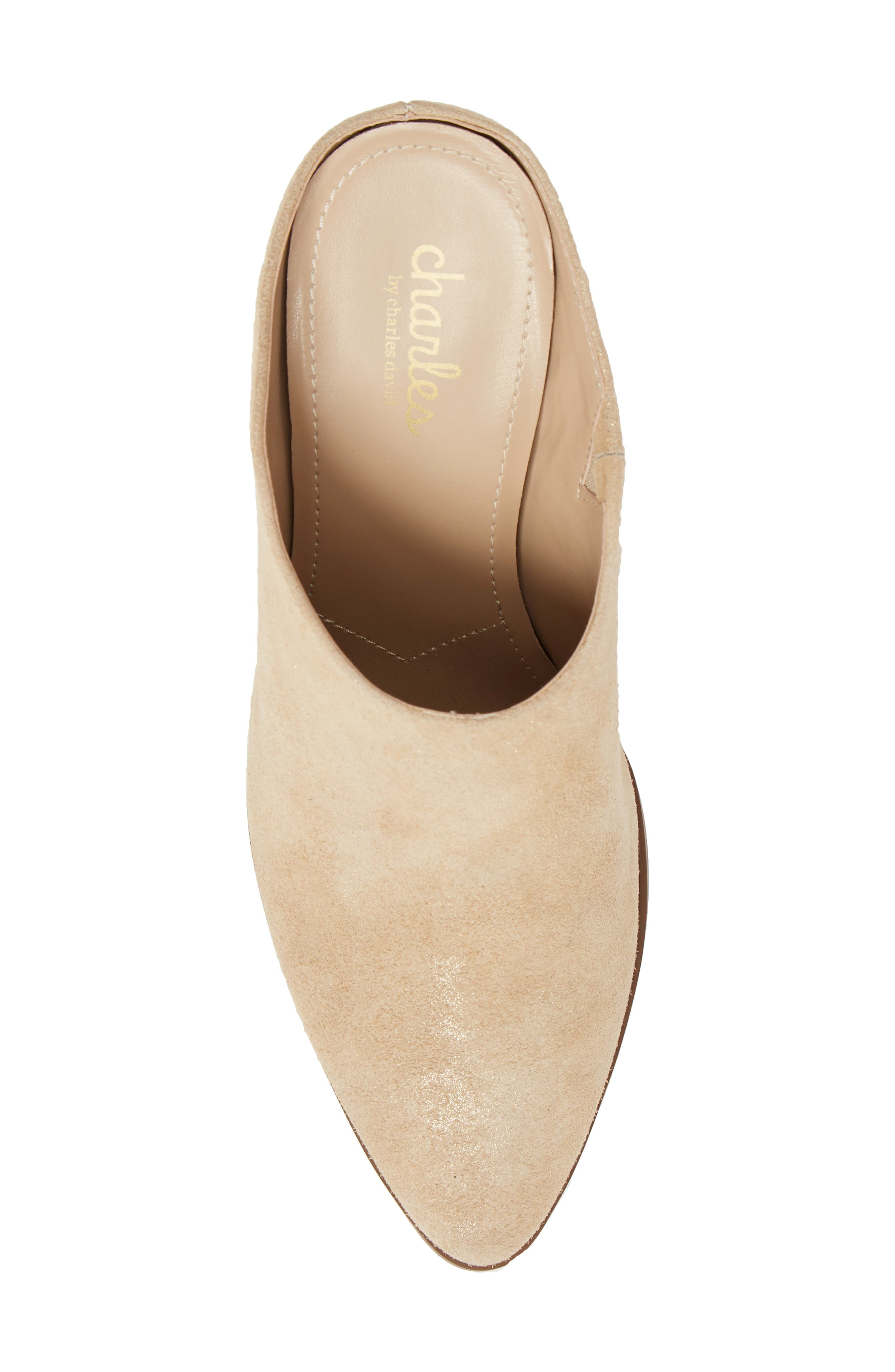CHARLES BY CHARLES DAVID, Nico Mule, Alternate thumbnail 5, color, NUDE LIGHT GOLD SUEDE