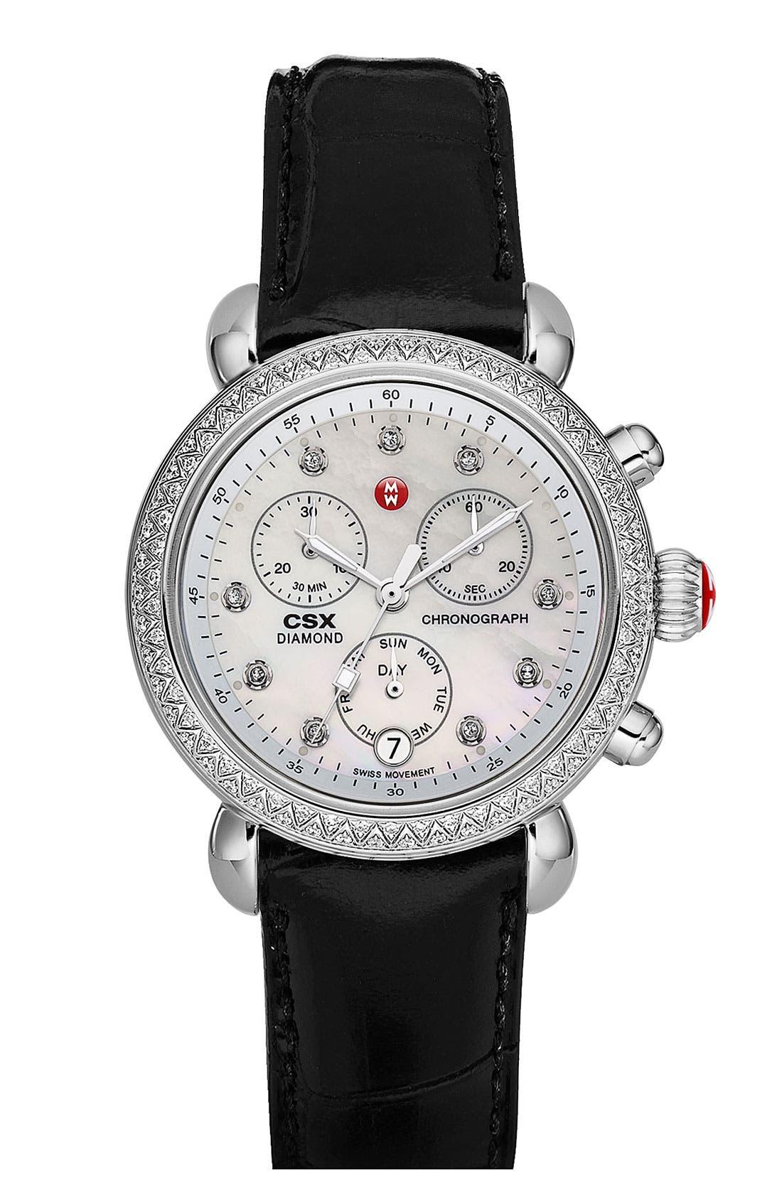 MICHELE, 'CSX-36 Diamond' Diamond Dial Two Tone Watch Case, 36mm, Alternate thumbnail 6, color, 040