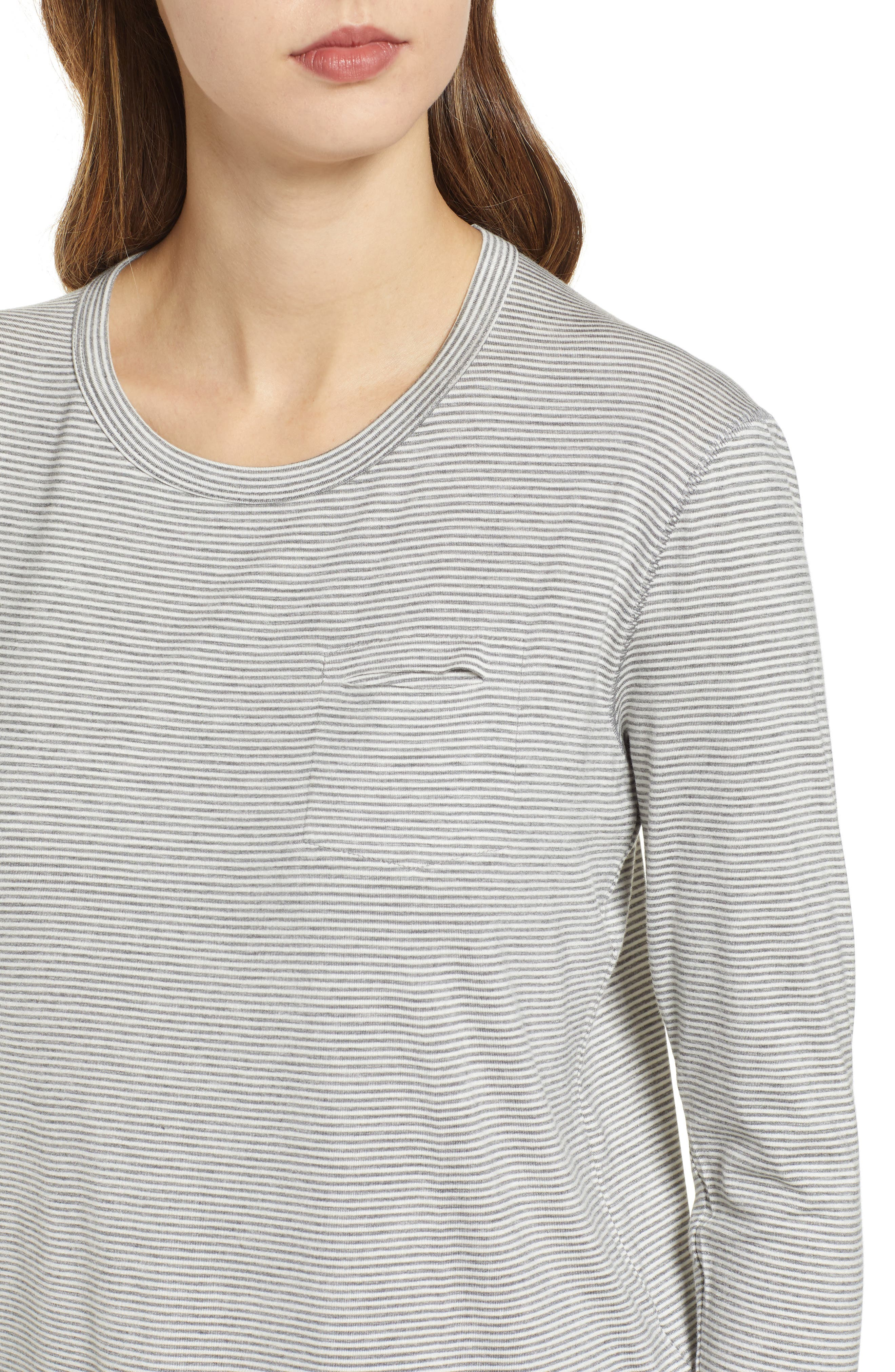 PROJECT SOCIAL T, Heathered Stripe Tee, Alternate thumbnail 4, color, GREY/ WHITE