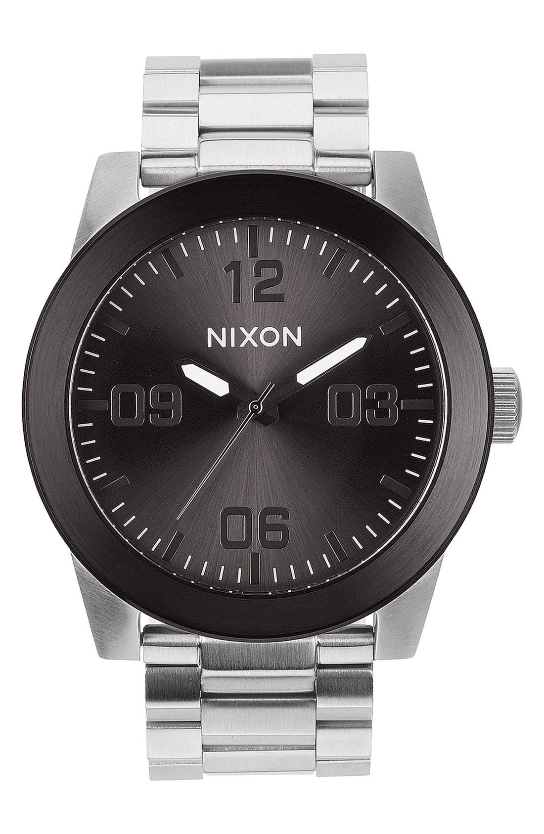 NIXON, 'The Corporal' Bracelet Watch, 48mm, Main thumbnail 1, color, SILVER/ GUNMETAL