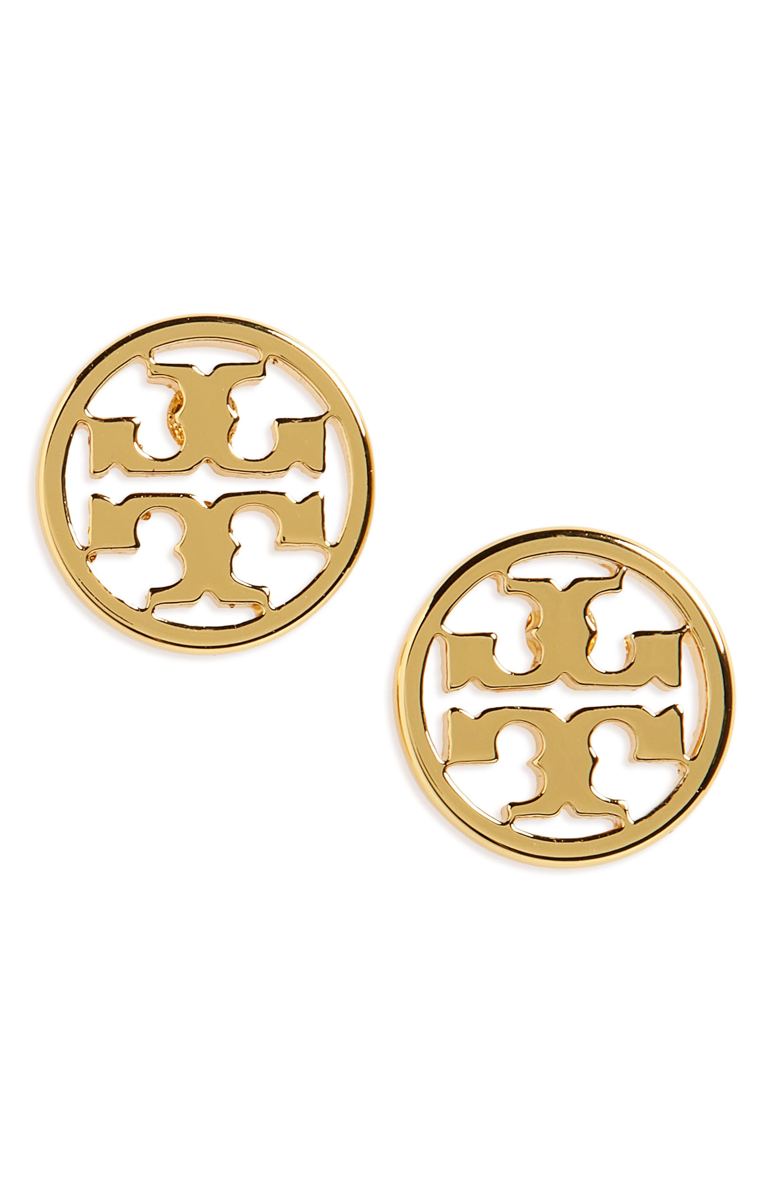 TORY BURCH, Circle Logo Stud Earrings, Main thumbnail 1, color, TORY GOLD