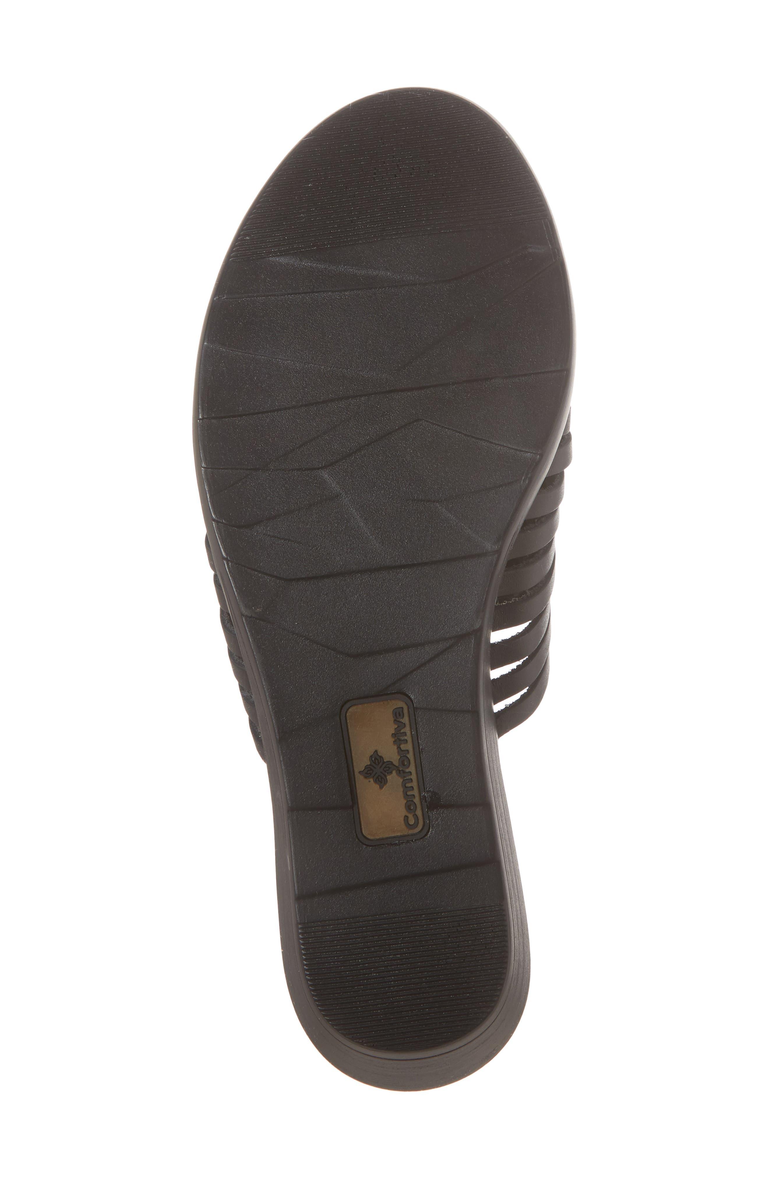 COMFORTIVA, Felida Huarache Slide Sandal, Alternate thumbnail 6, color, BLACK LEATHER